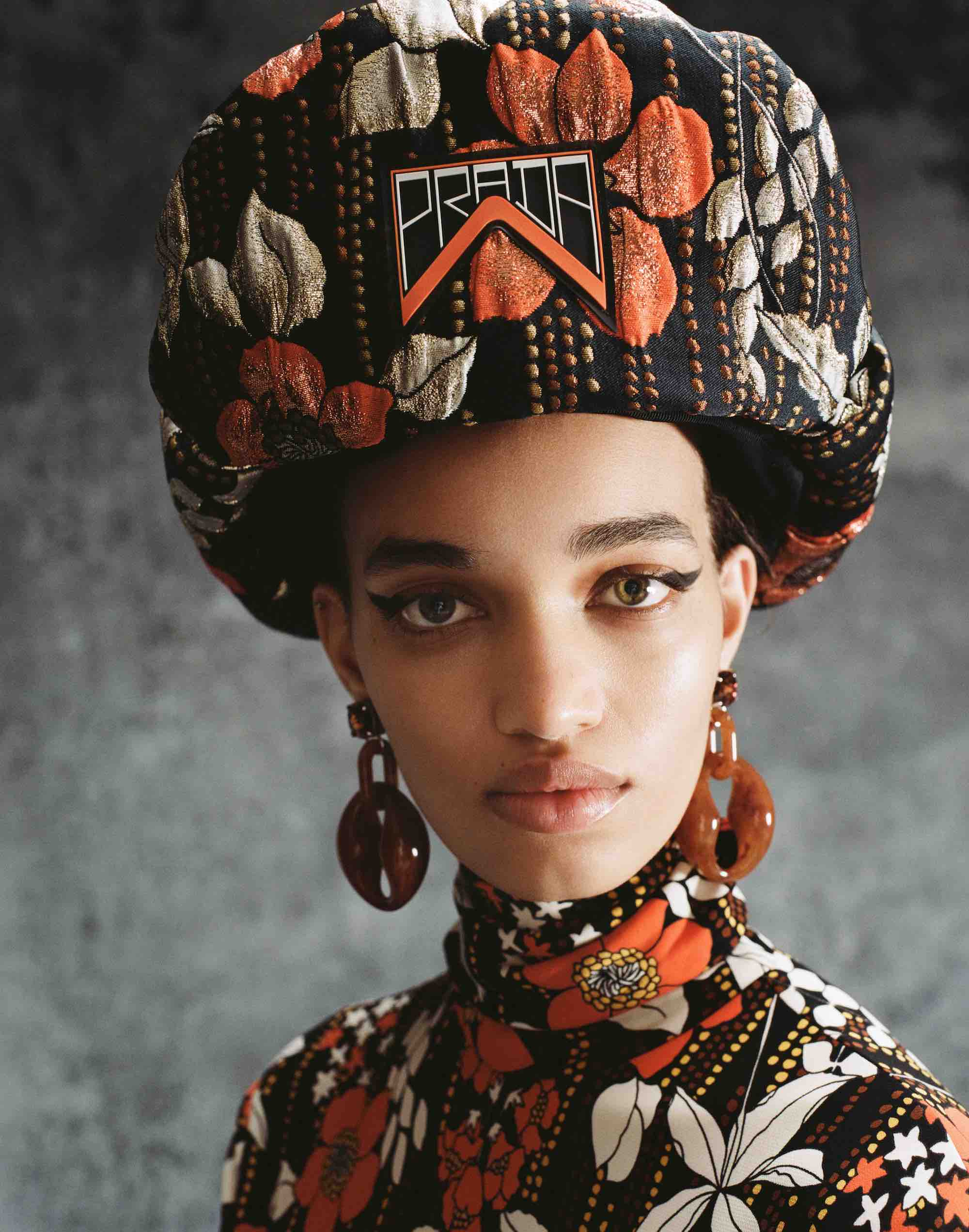 Prada AW18 fashion editorial from magazine floral hat