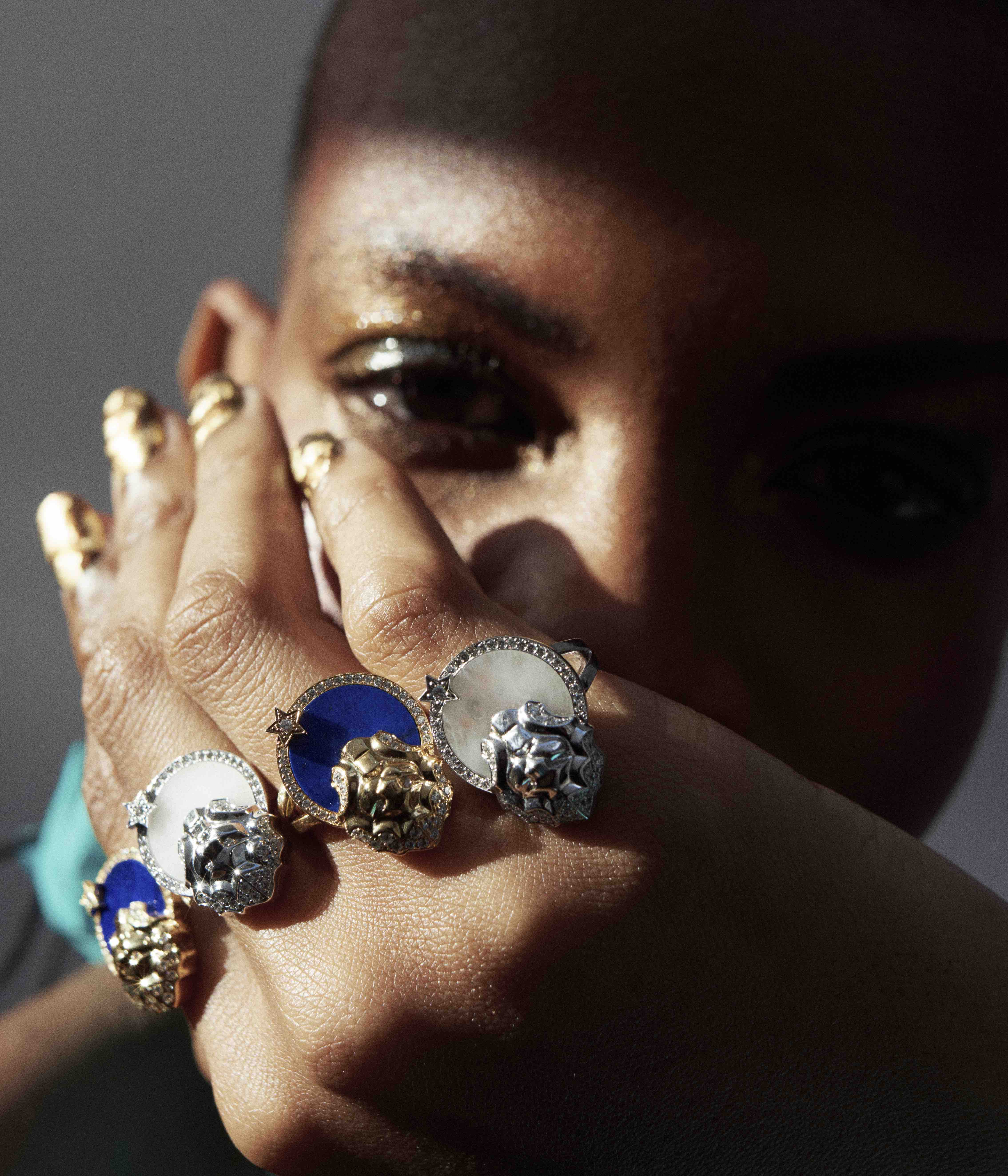 Maximalisme de Chanel beauty editorial in magazine rings