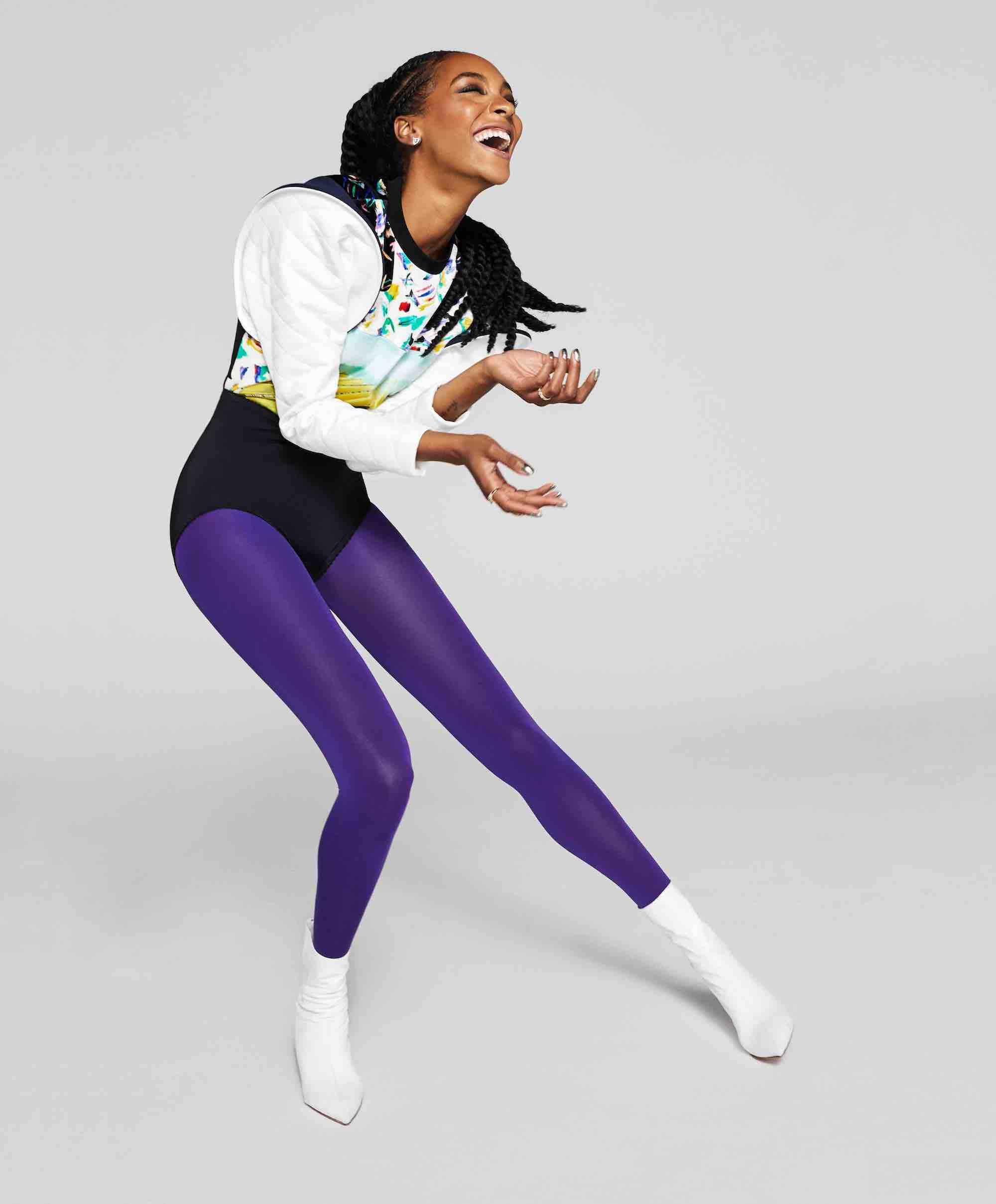 Supermodel Jourdan Dunn on the cover of Wonderland Winter 18/19 purple tights