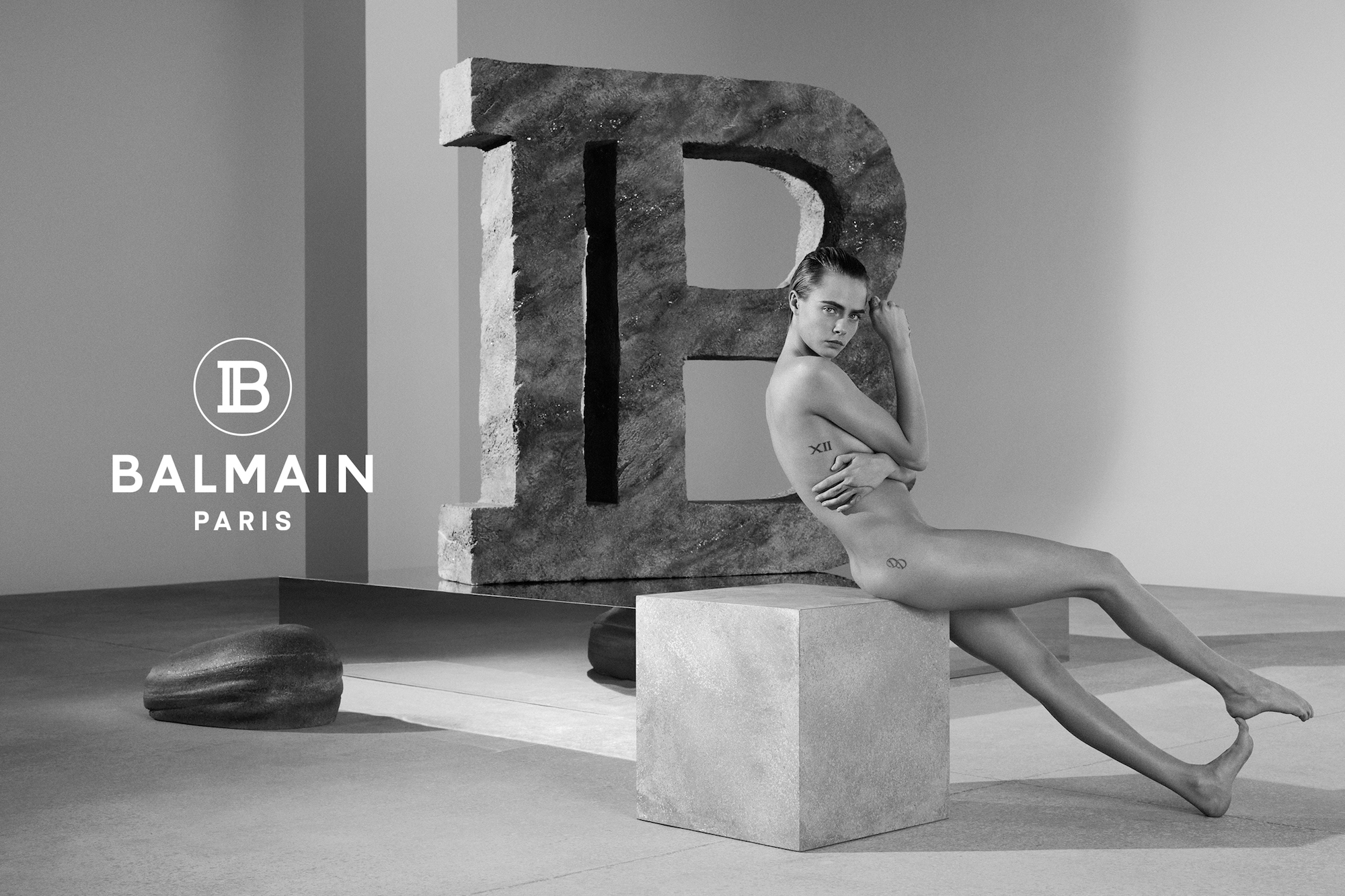 Balmain Spring Summer 2019 Advertising Campaign with nude Cara Delevingne