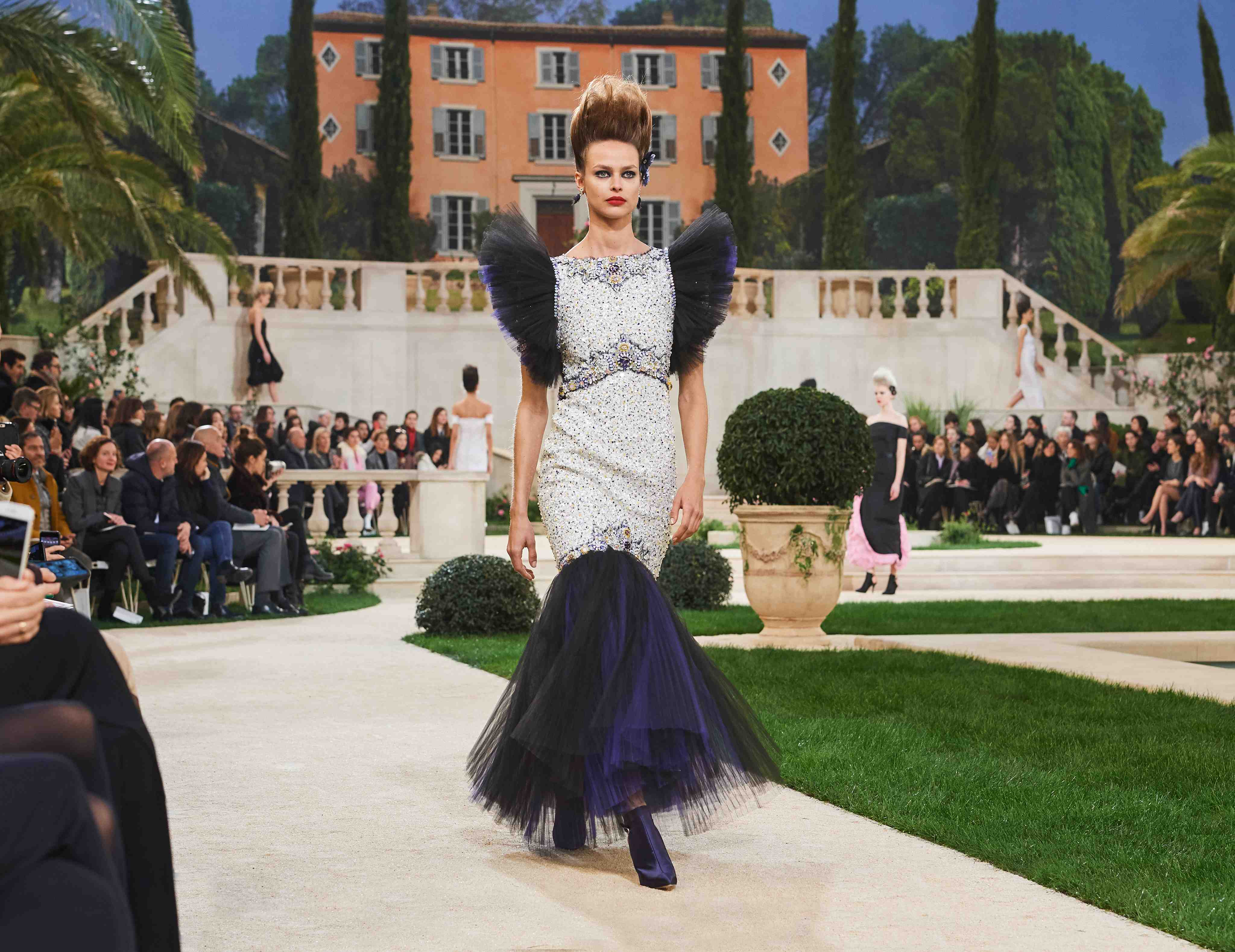 Chanel SS19 Haute Couture silver sequinned dress with navy tulle finish