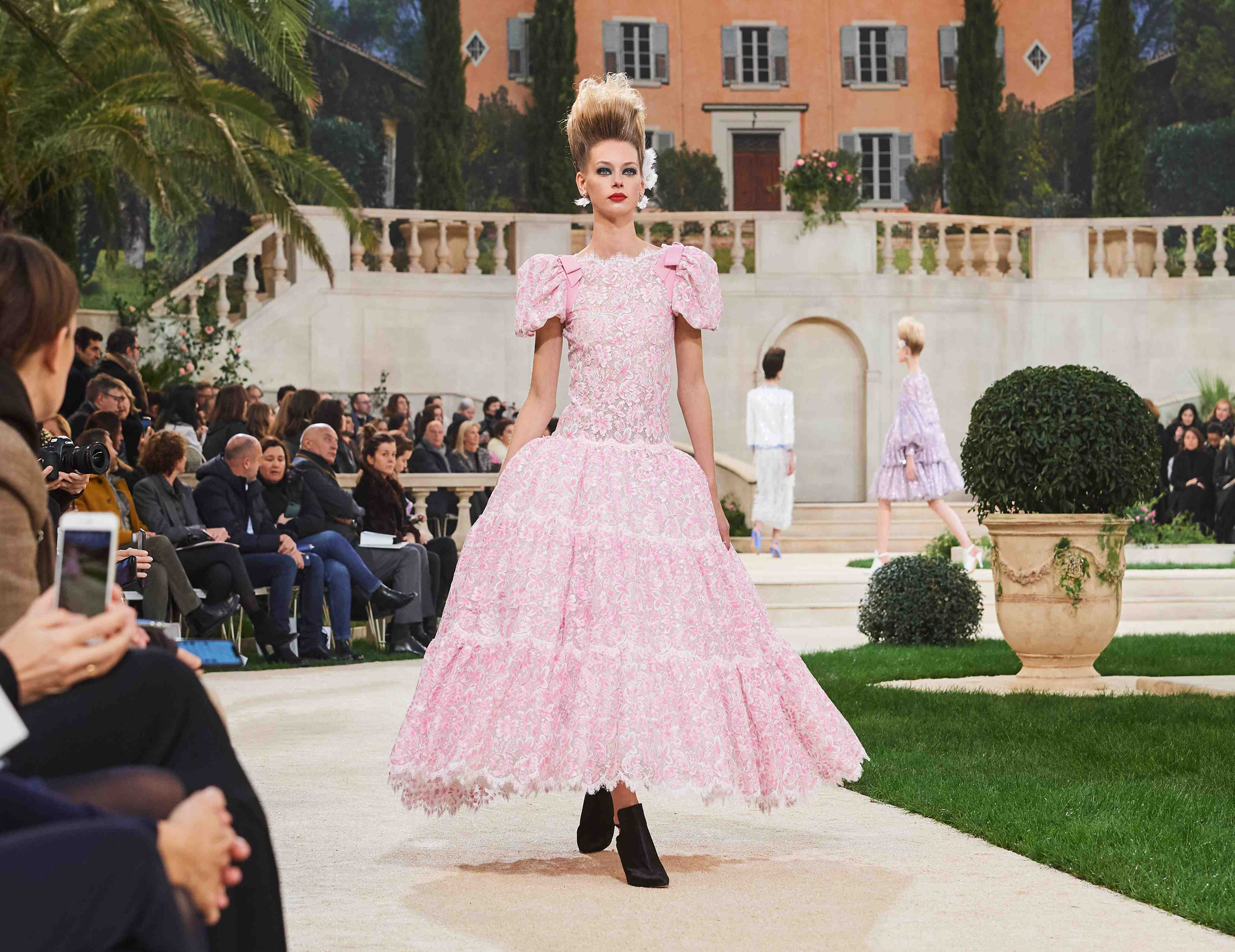 Chanel SS19 Haute Couture pink gown with ruffles