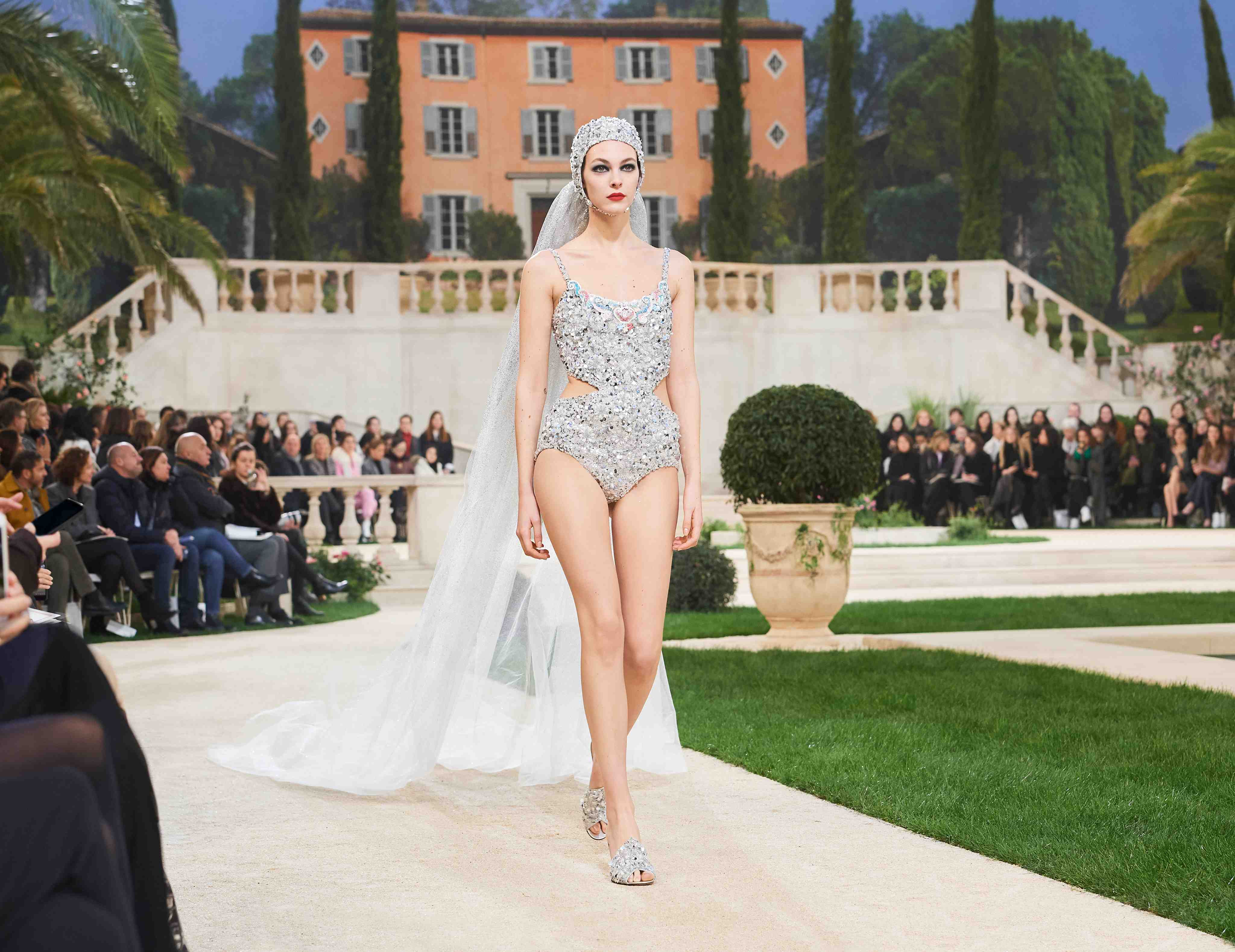 Chanel SS19 Haute Couture sequinned swimsuit bridal look