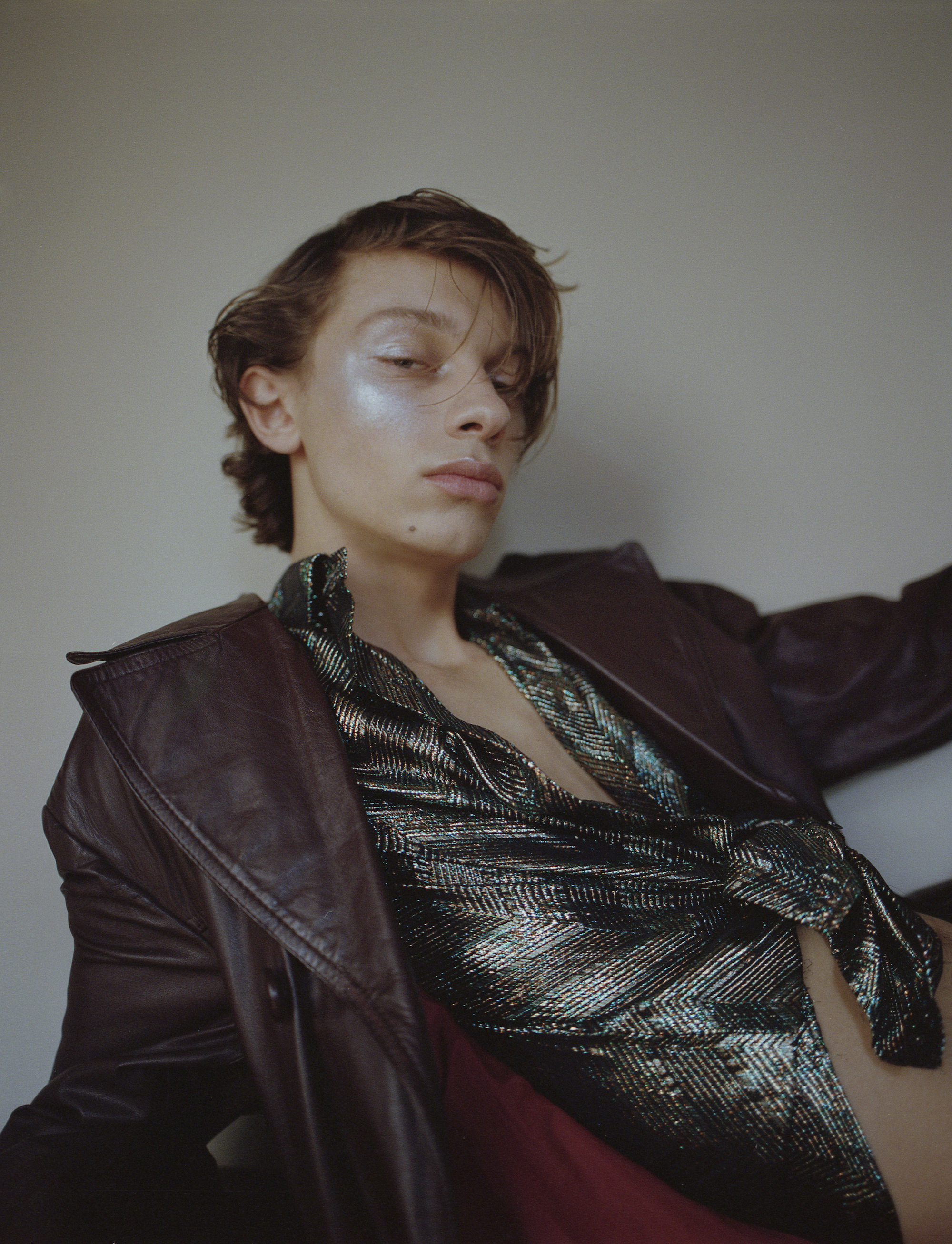 Hall of fame fashion editorial metallic shirt