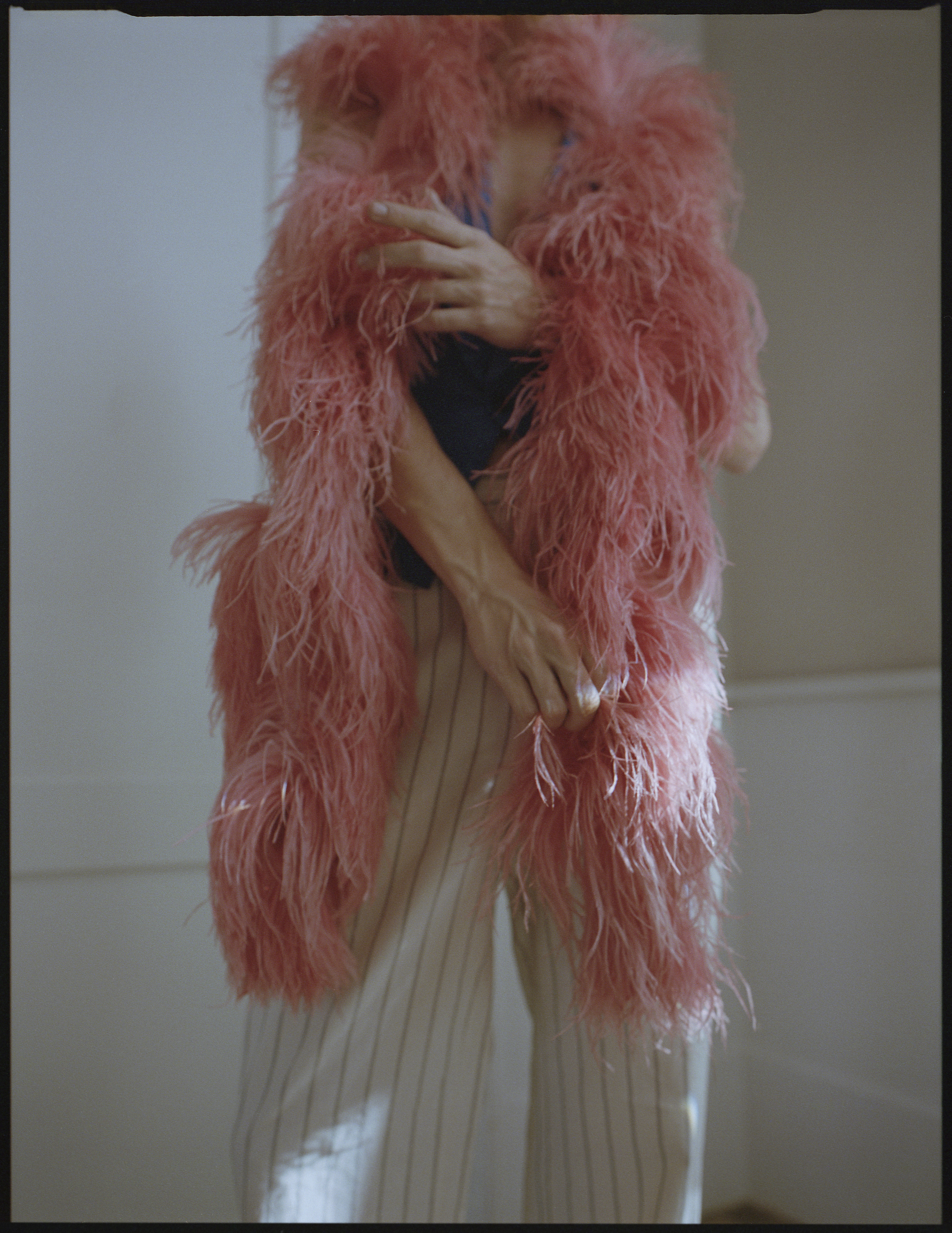 Hall of fame fashion editorial pink fur scarf