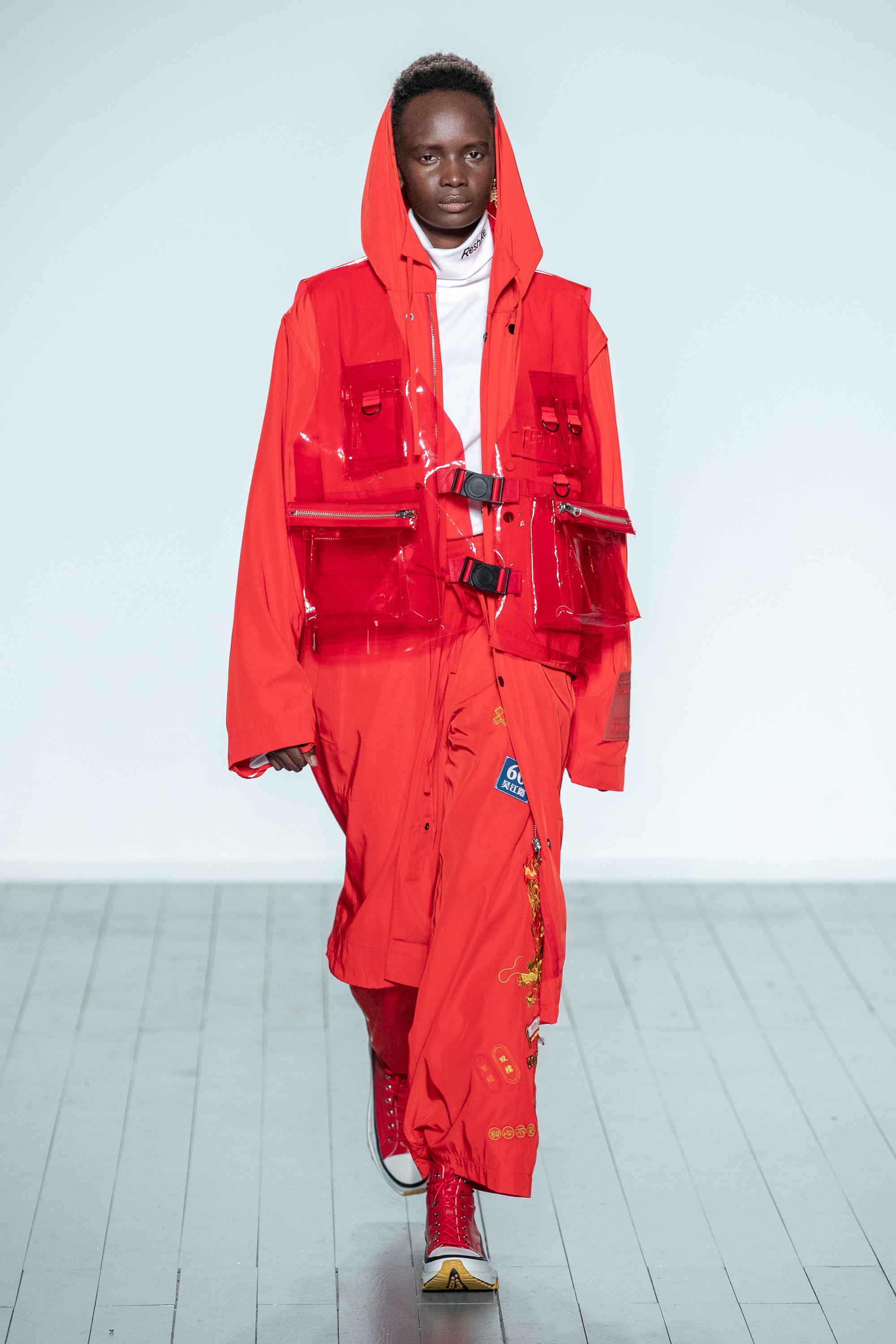 London Fashion Week Autumn Winter 2019 - On|Off Reshake red outfit