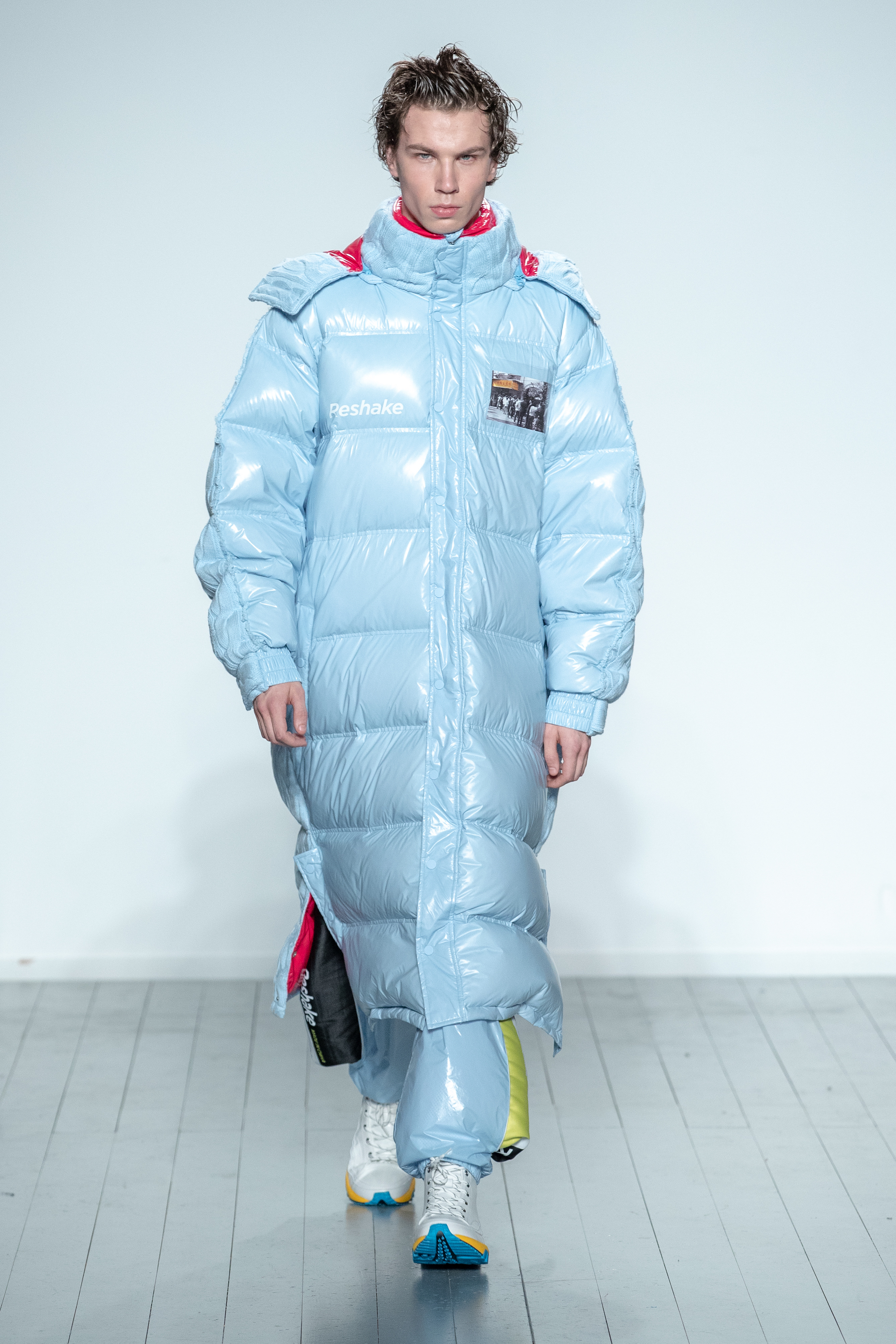 London Fashion Week Autumn Winter 2019 - On|Off Reshake blue puffer
