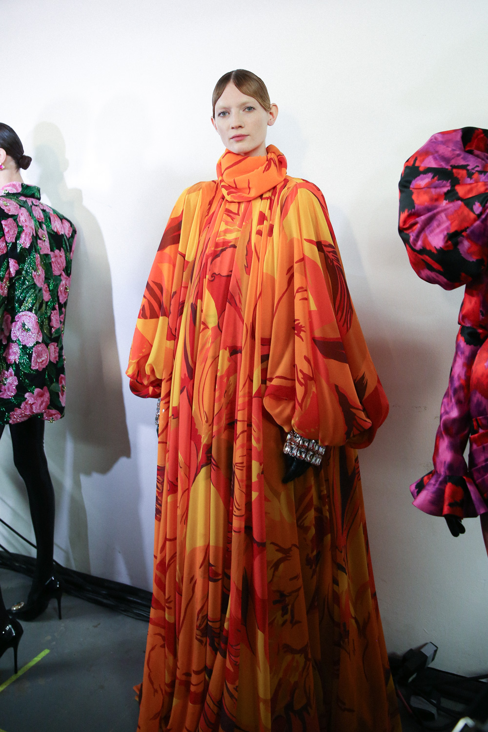 Richard Quinn orange dress LFW