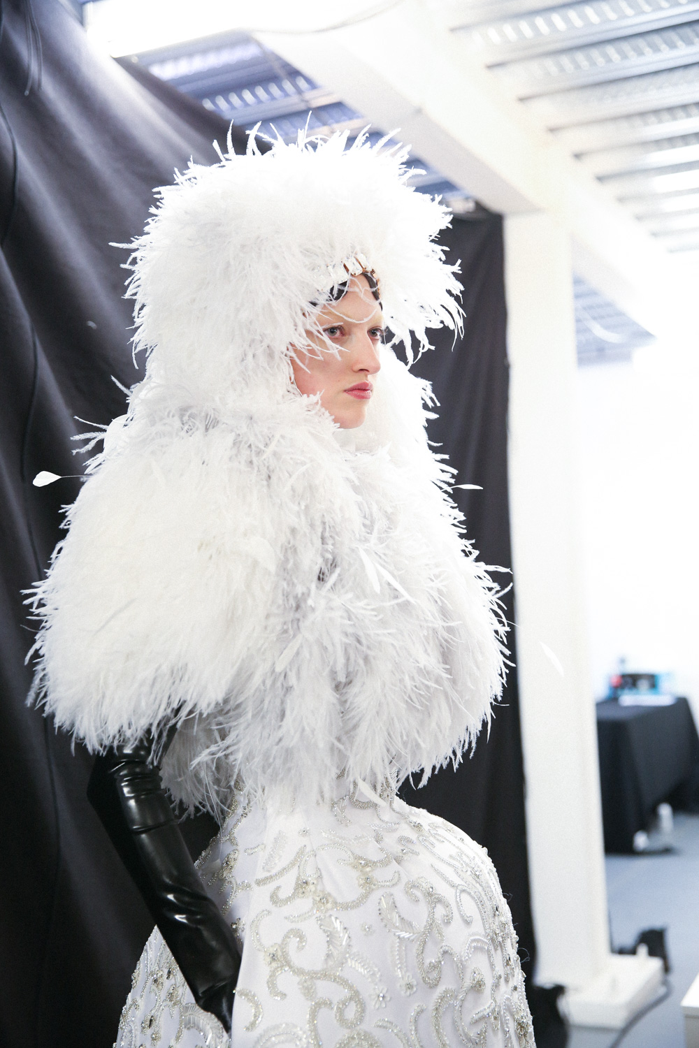 Richard Quinn White fluffy hat dress LFW AW19