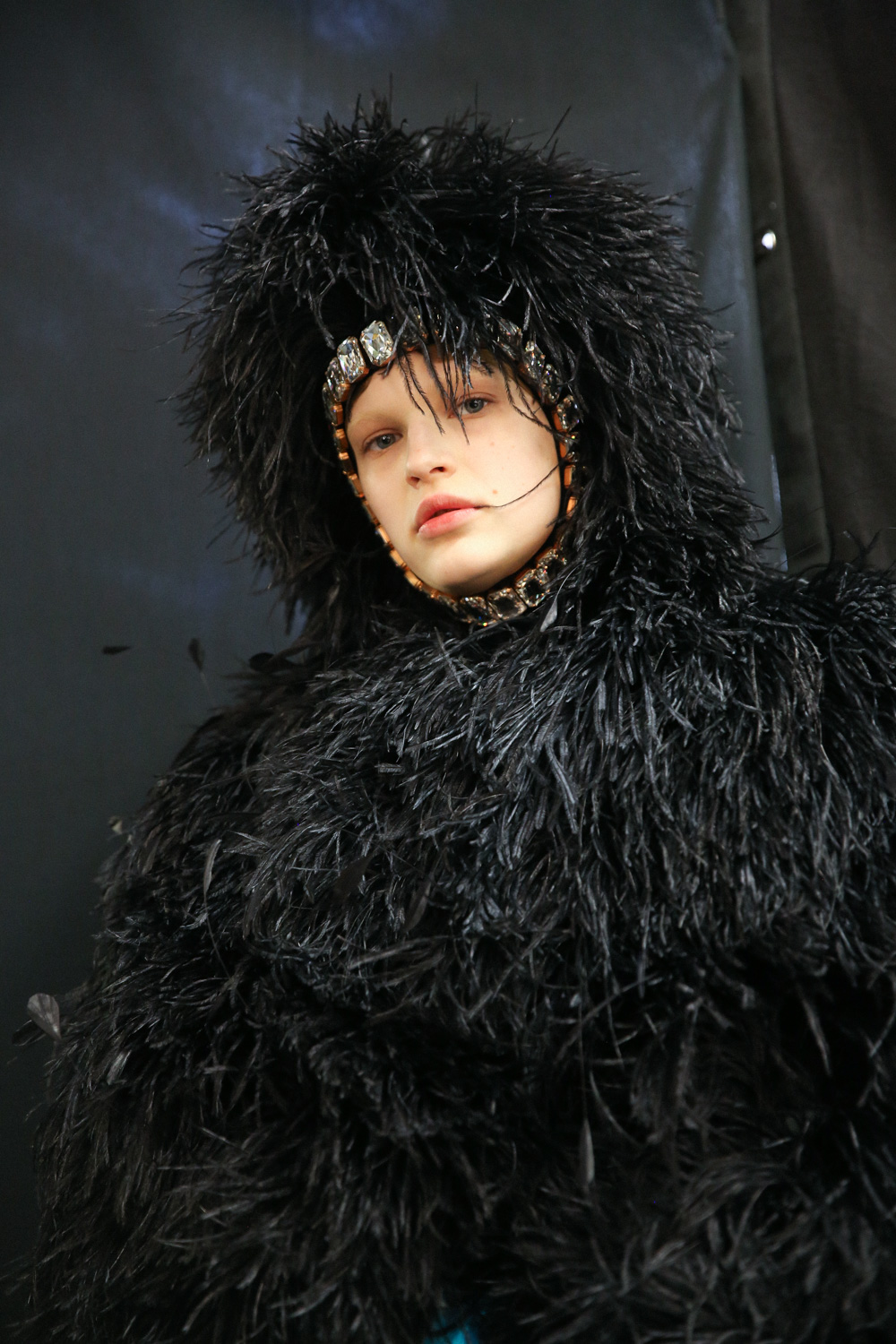Richard Quinn black fluffy hat and coat LFW