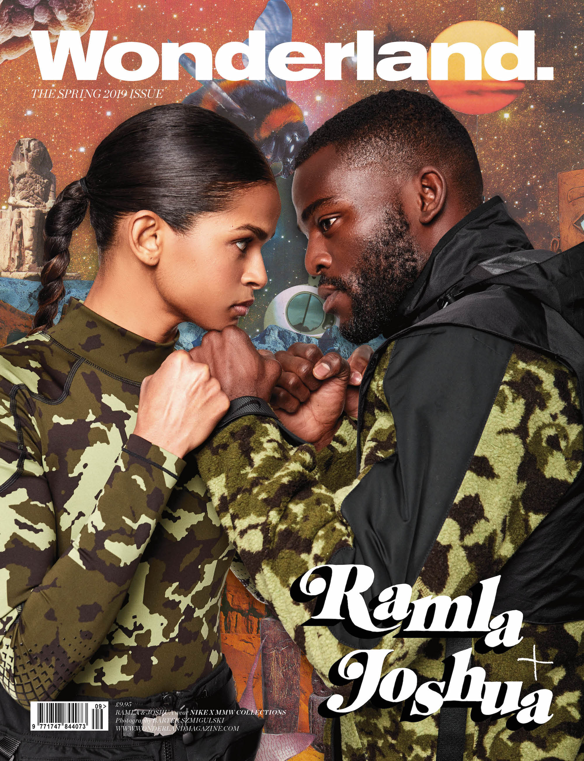 Joshua Buatsi and Ramla Ali on the cover of Wonderland Spring 19 issue wearing Nike