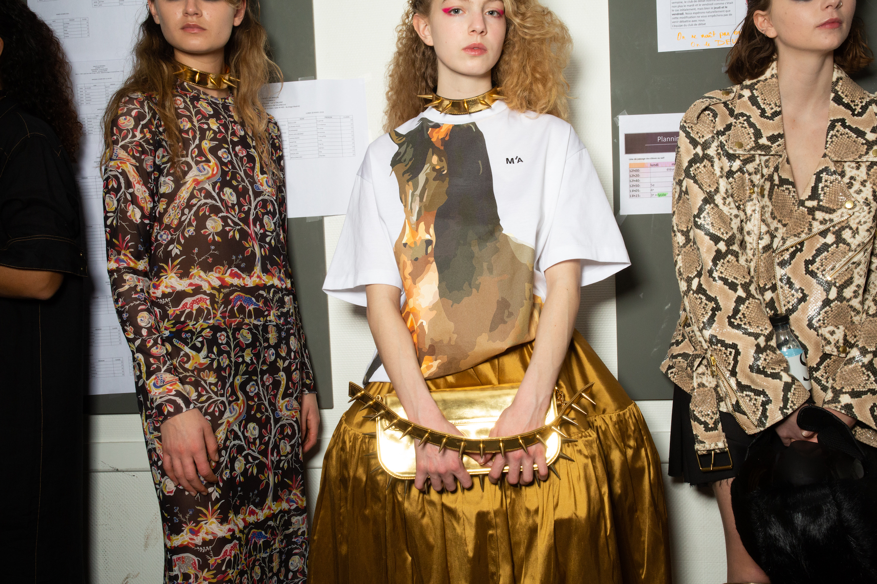 Marques' Almeida AW19 show at Paris Fashion Week gold skirt horse shirt