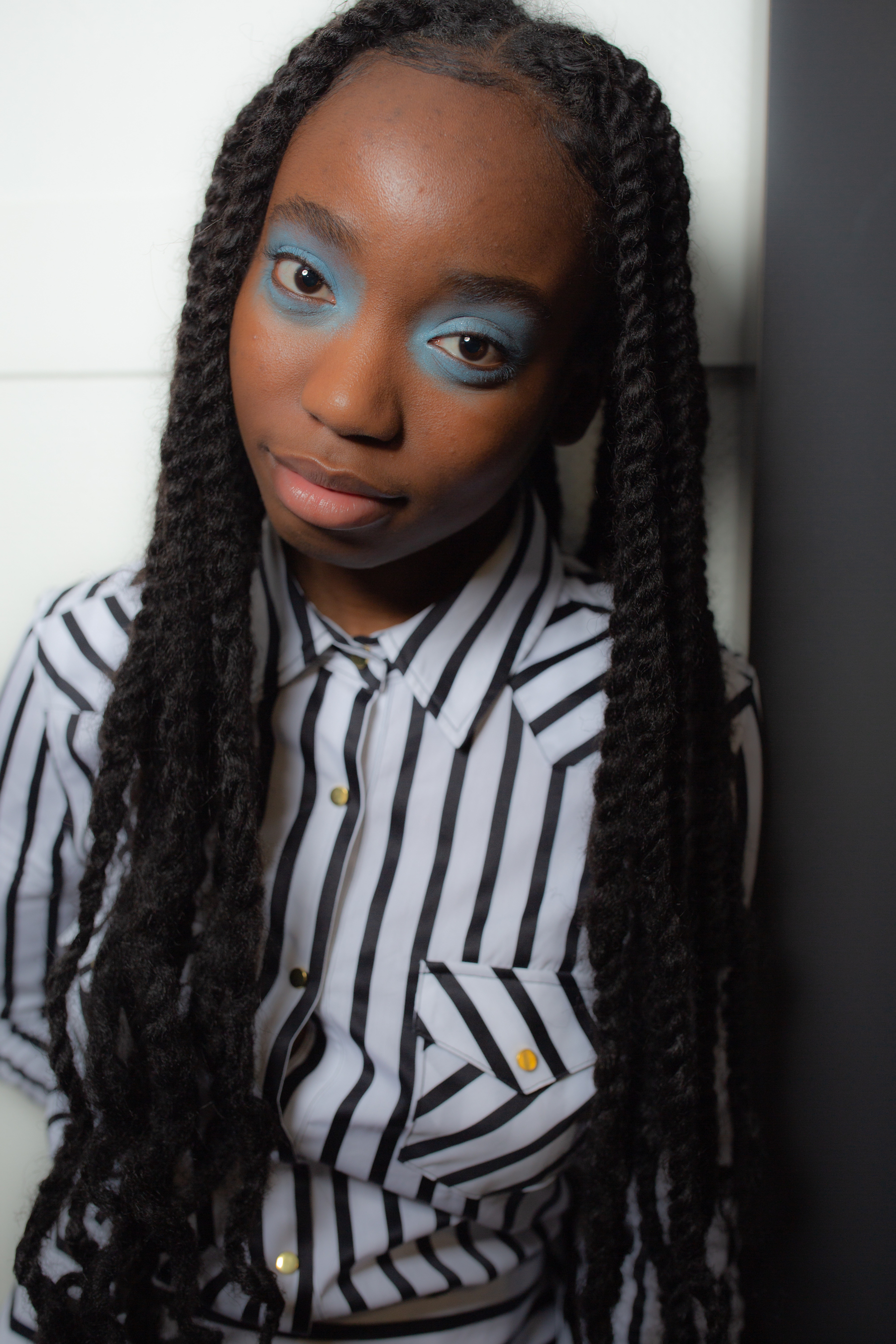 Marques' Almeida AW19 show at Paris Fashion Week blue eyeshadow