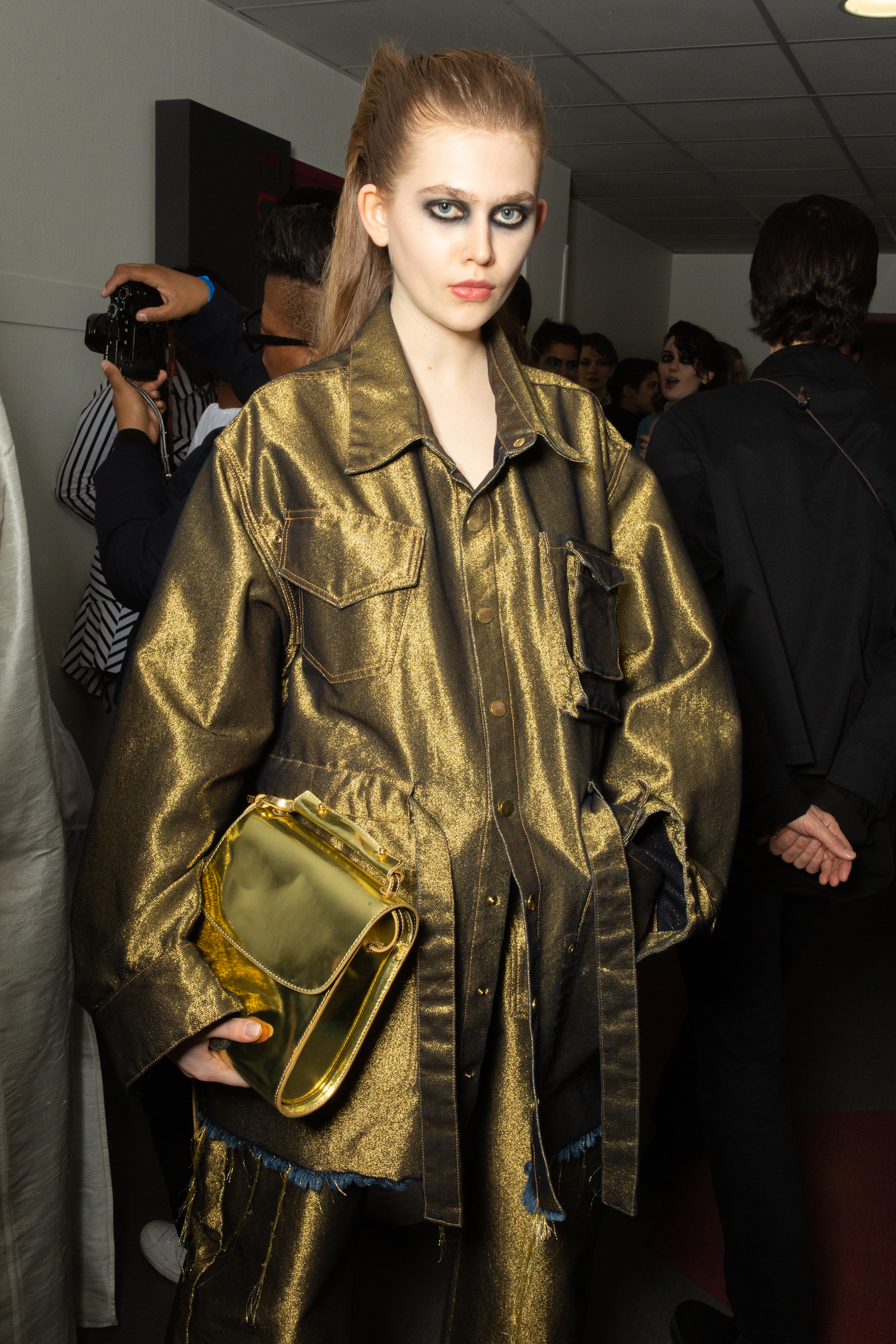 Marques' Almeida AW19 show at Paris Fashion Week gold coat