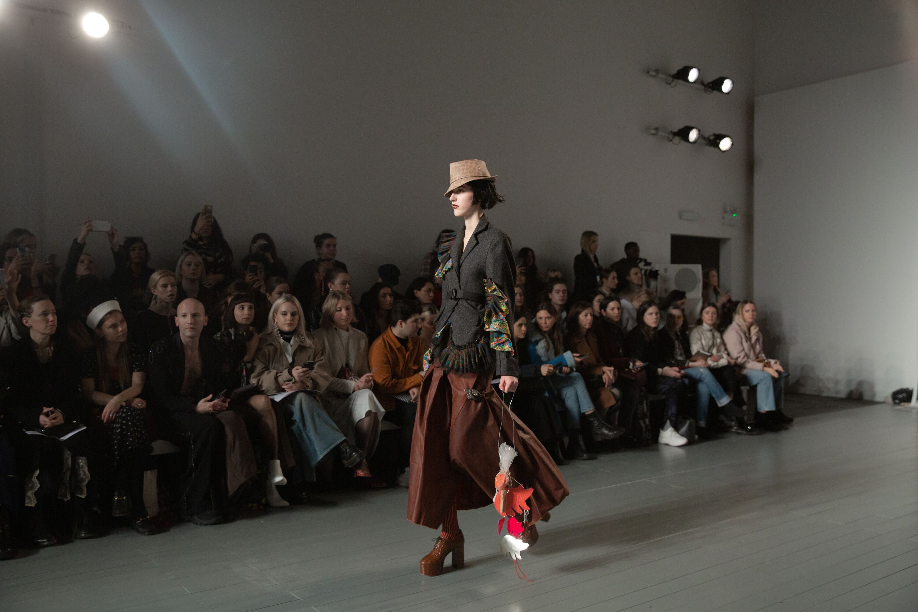 Matty Bovan AW19 blazer trousers top hat LFW