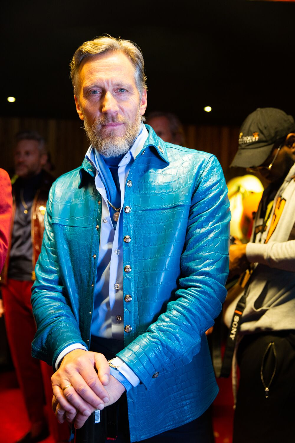 philipp plein billionaire collecton blue croc jacket nyfw