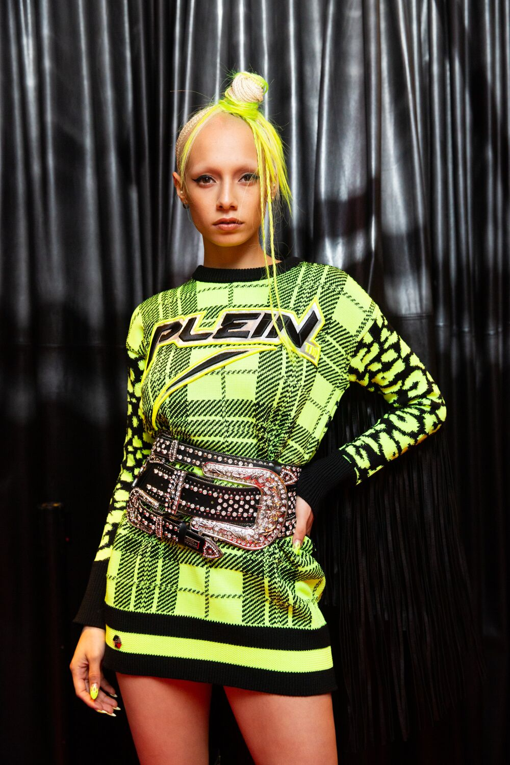 philipp plein aw19 nyfw neon plaid dress