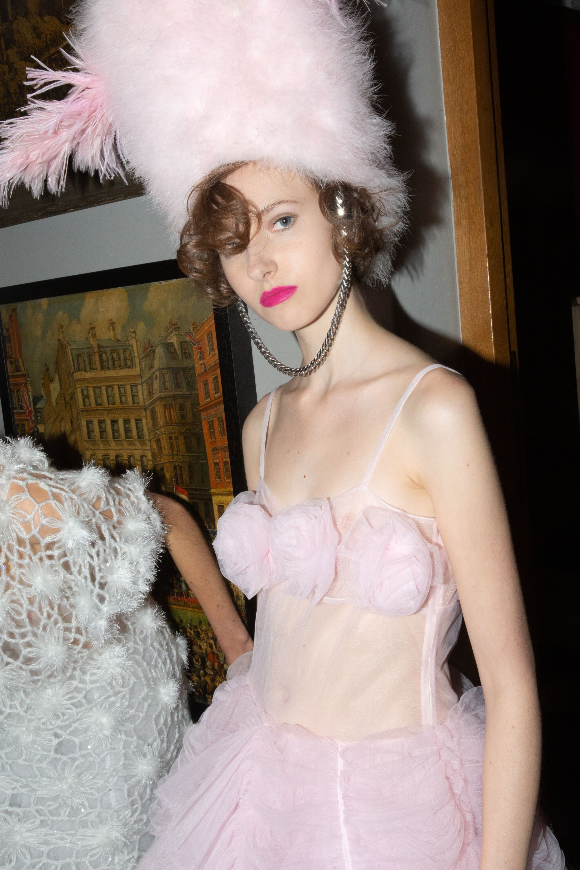 Ryan Lo tulle pink dress fluffy hat AW19