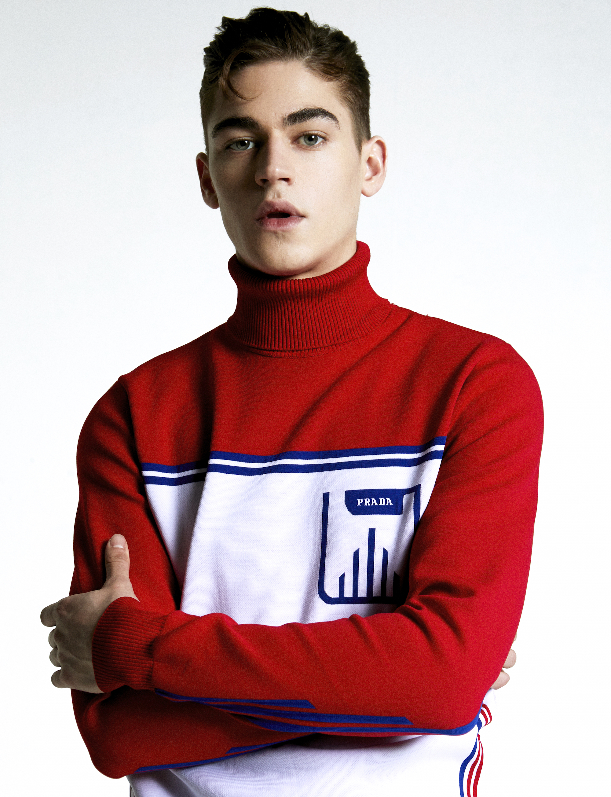 Hero Fiennes Tiffin in the Spring 19 issue of Wonderland in red top