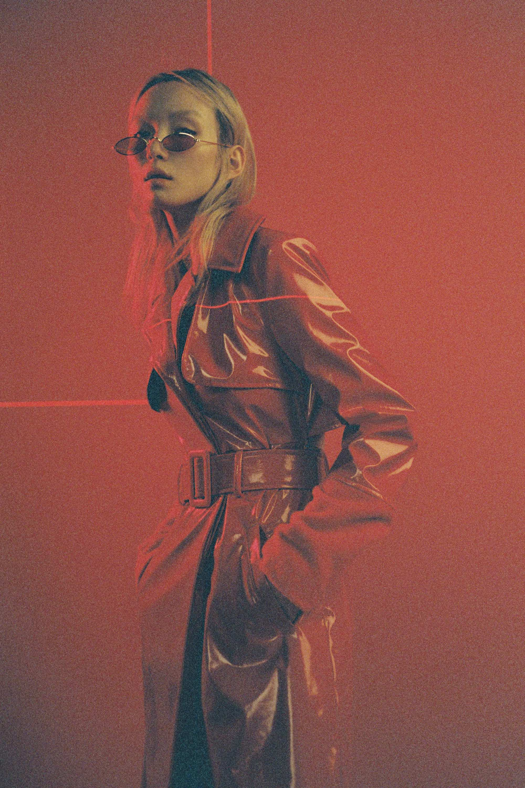 Peggy Gou's fashion line KIRIN red vinyl trench coat