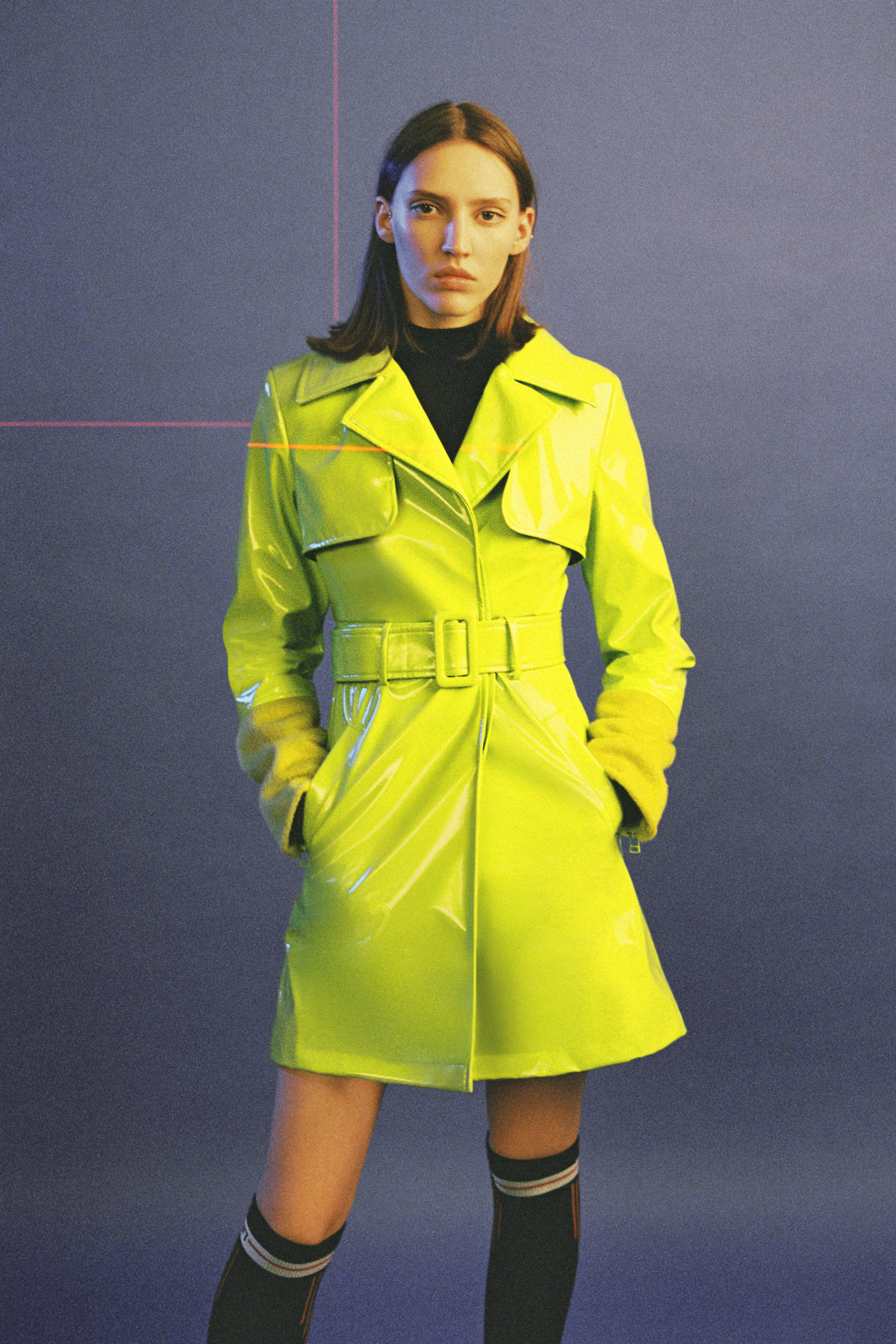 Peggy Gou's fashion line KIRIN green trenchcoat