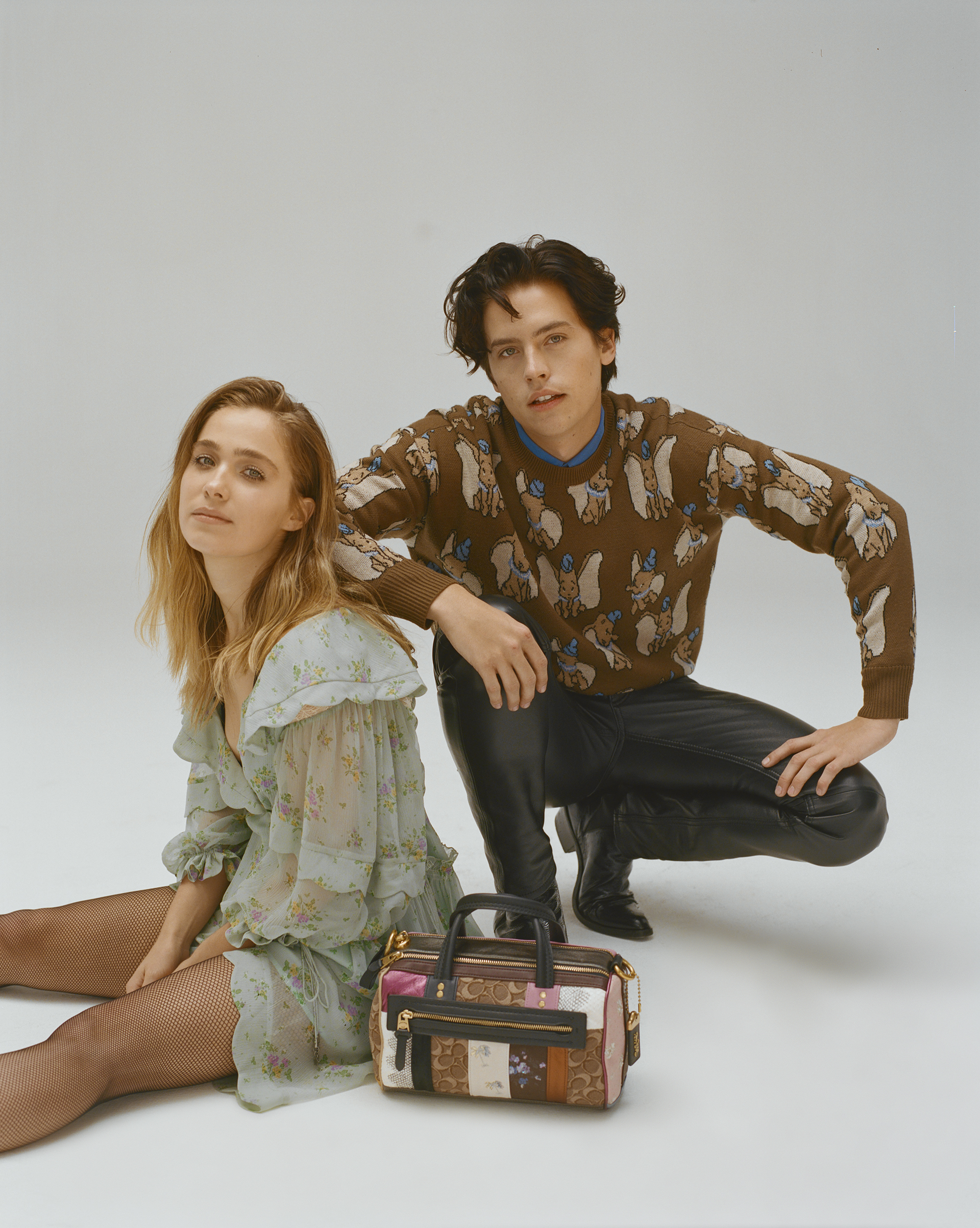 Cole Sprouse and Haley Lu Richardson on the Spring 19 cover of Wonderland in Coach