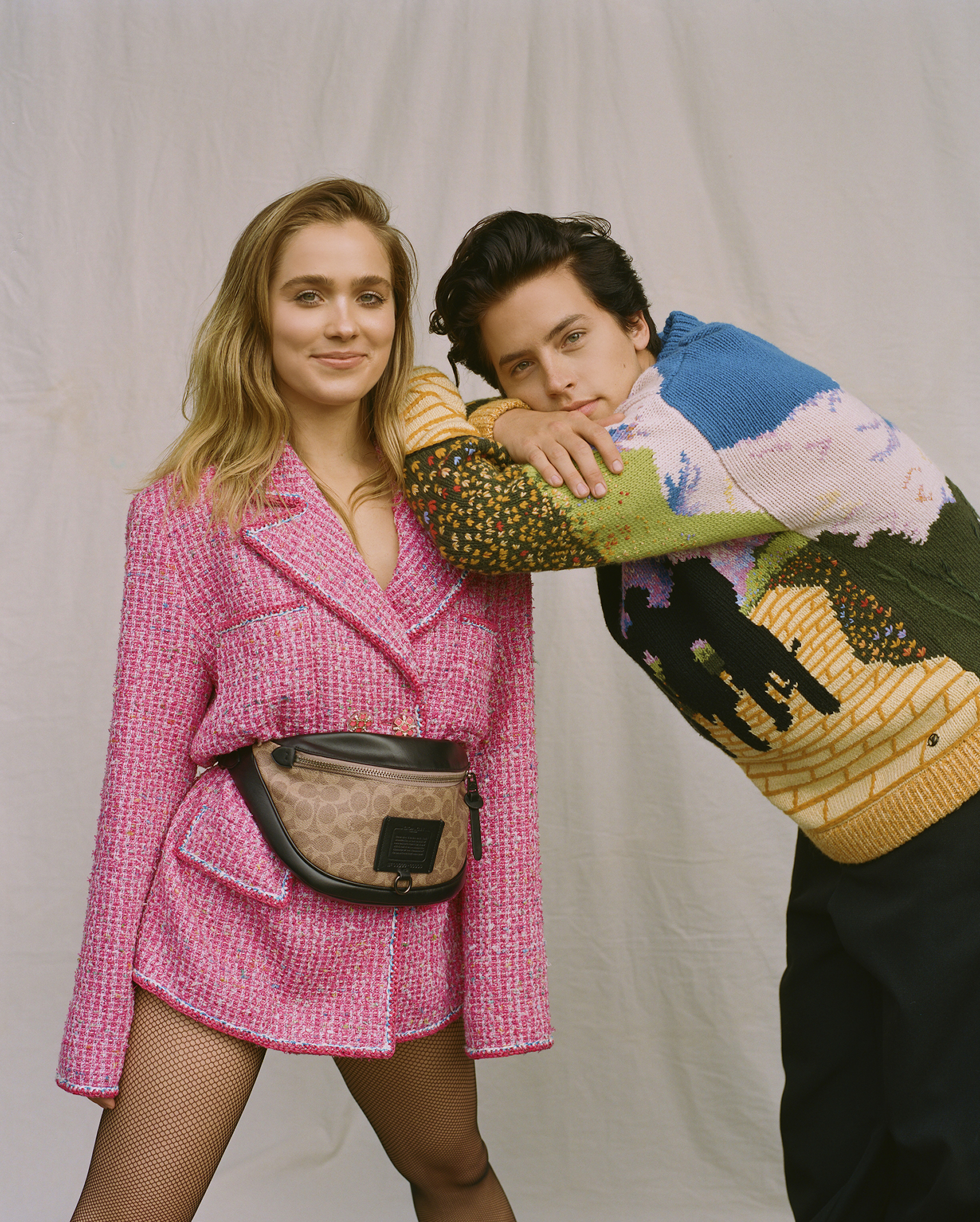 Cole Sprouse and Haley Lu Richardson on the Spring 19 cover of Wonderland in pink suit