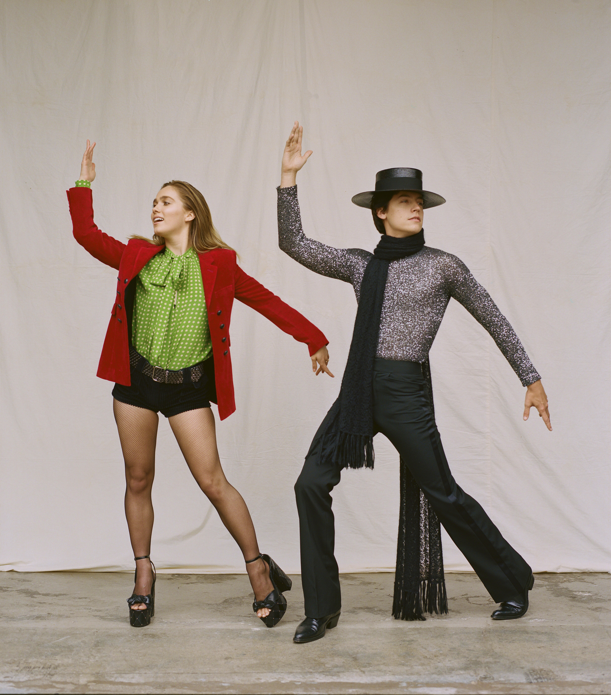 Cole Sprouse and Haley Lu Richardson on the Spring 19 cover of Wonderland in glittery body