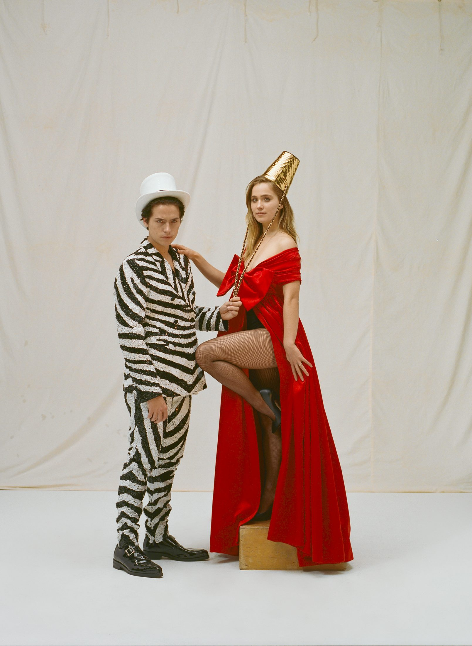 Cole Sprouse and Haley Lu Richardson on the Spring 19 cover of Wonderland in zebra suit