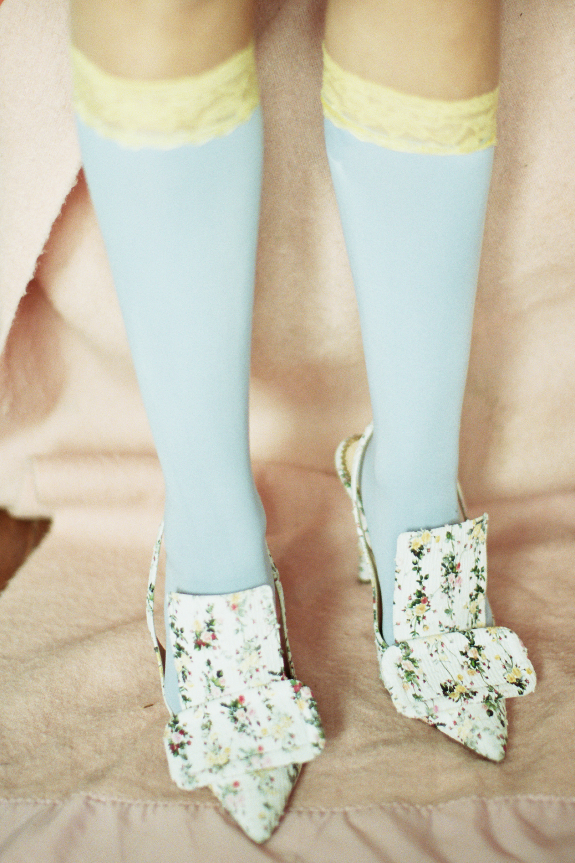 Girl crush fashion editorial blue knee-high socks