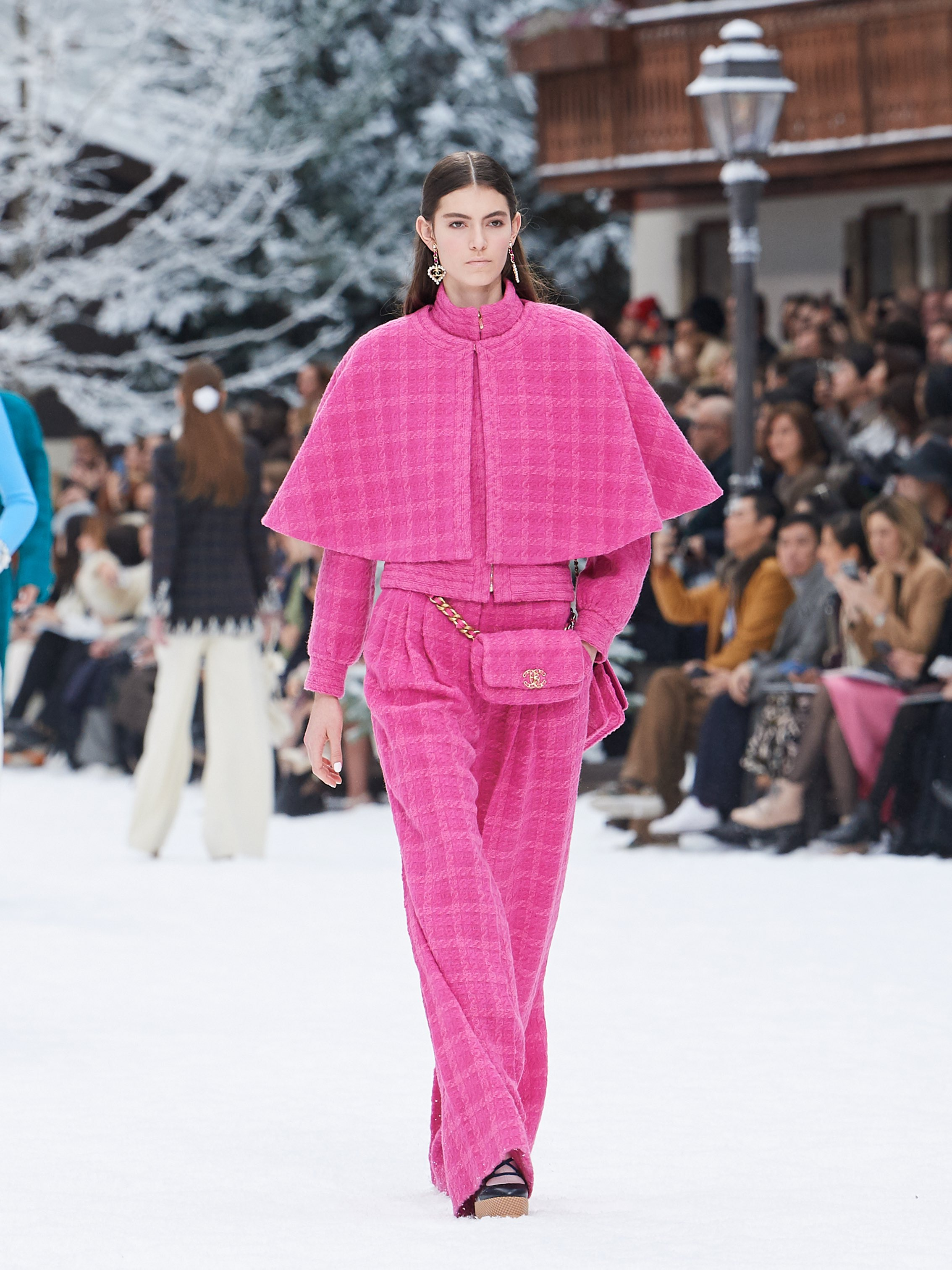 Chanel AW19 Paris Fashion Week pink outfit