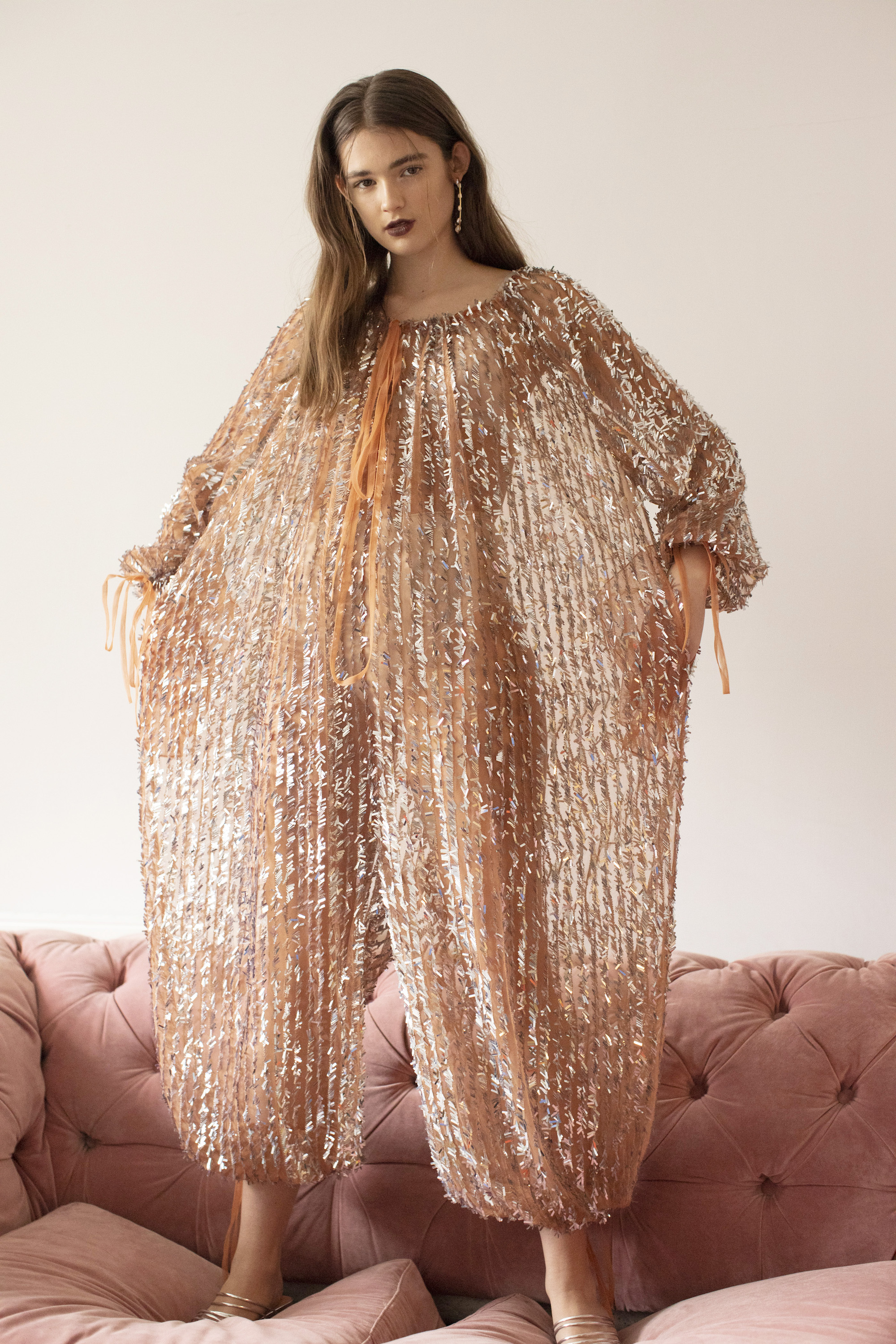 Girl crush fashion editorial metallic dress