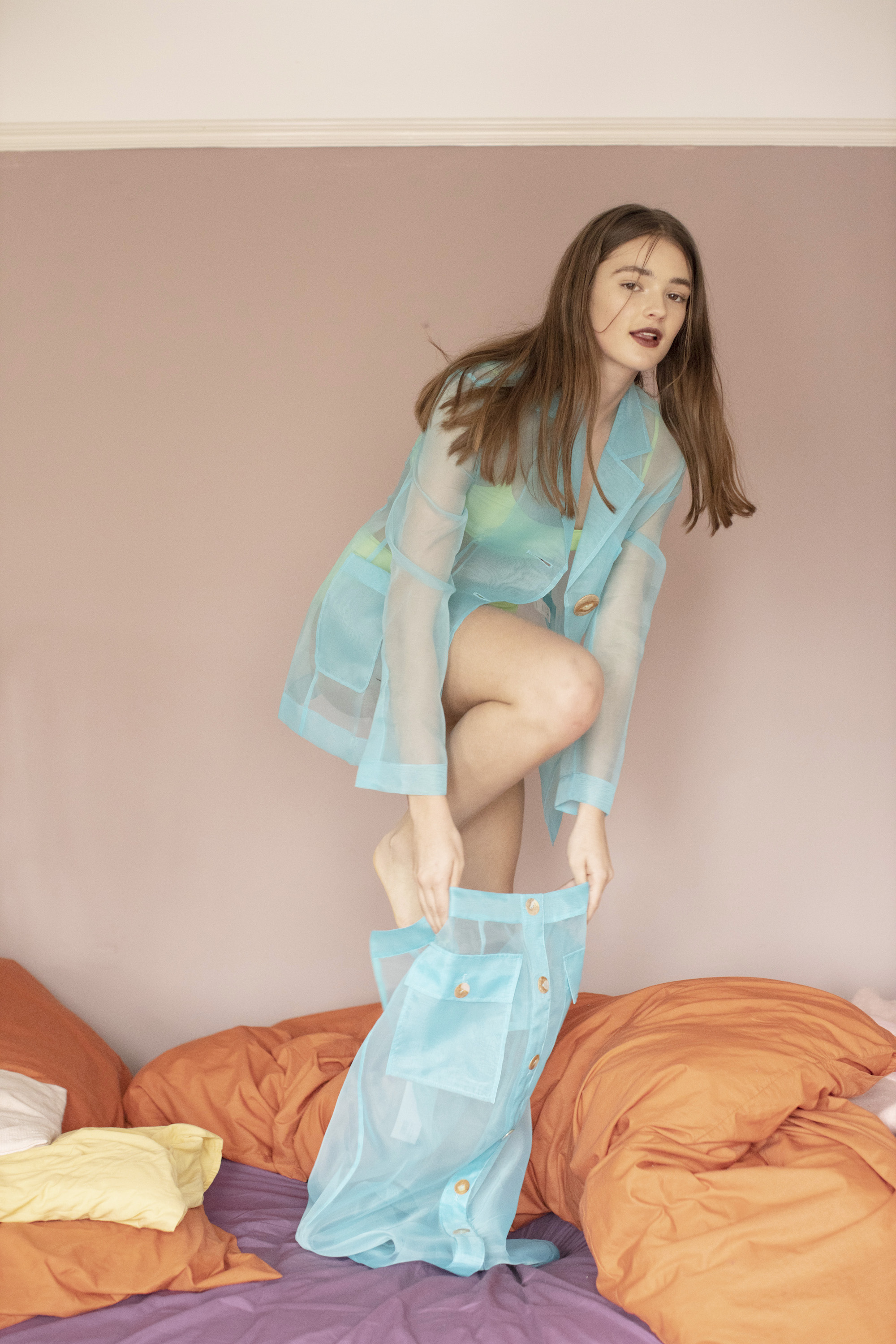 Girl crush fashion editorial sheer blue co-ord