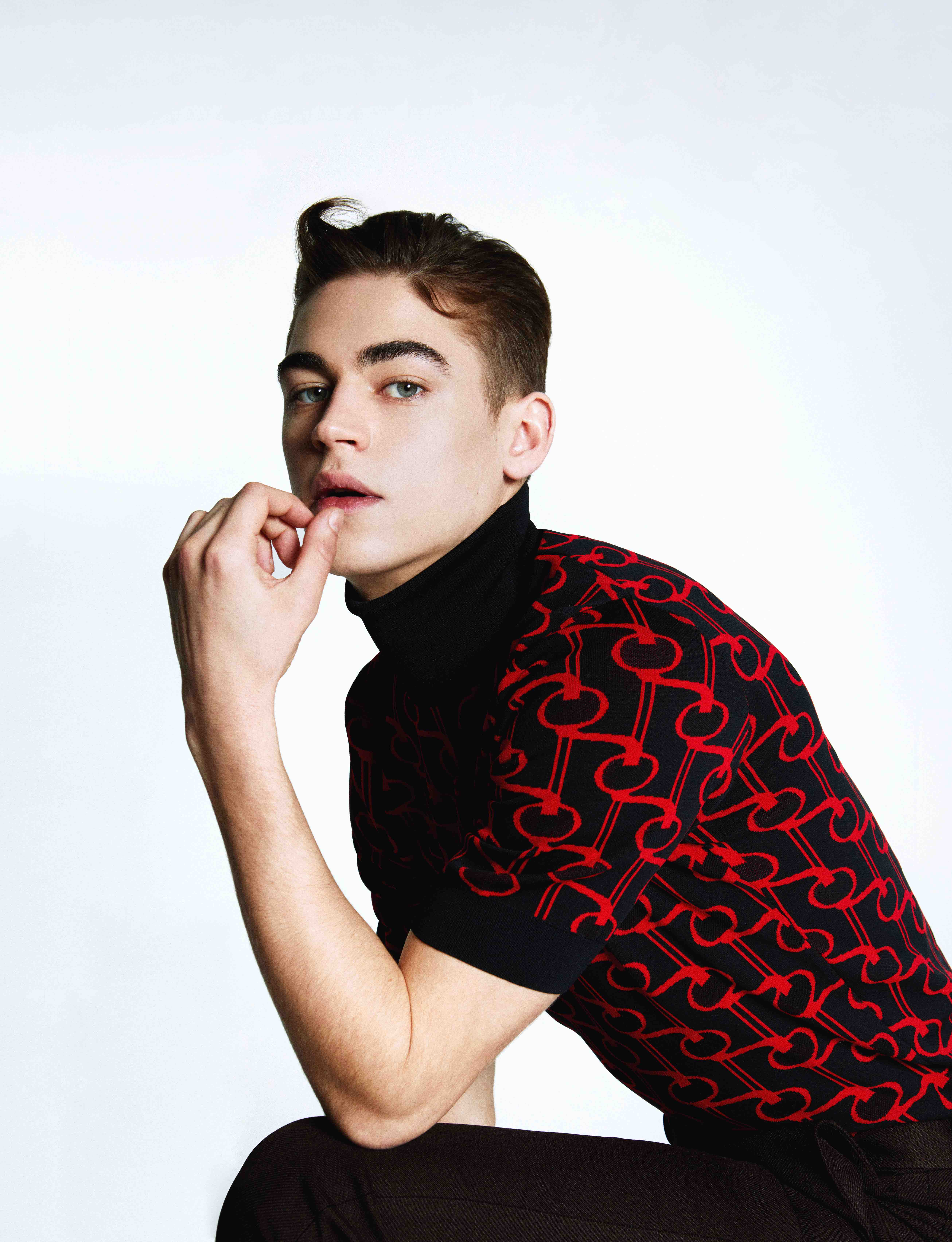 Hero Fiennes Tiffin in the Spring 19 issue of Wonderland polo top