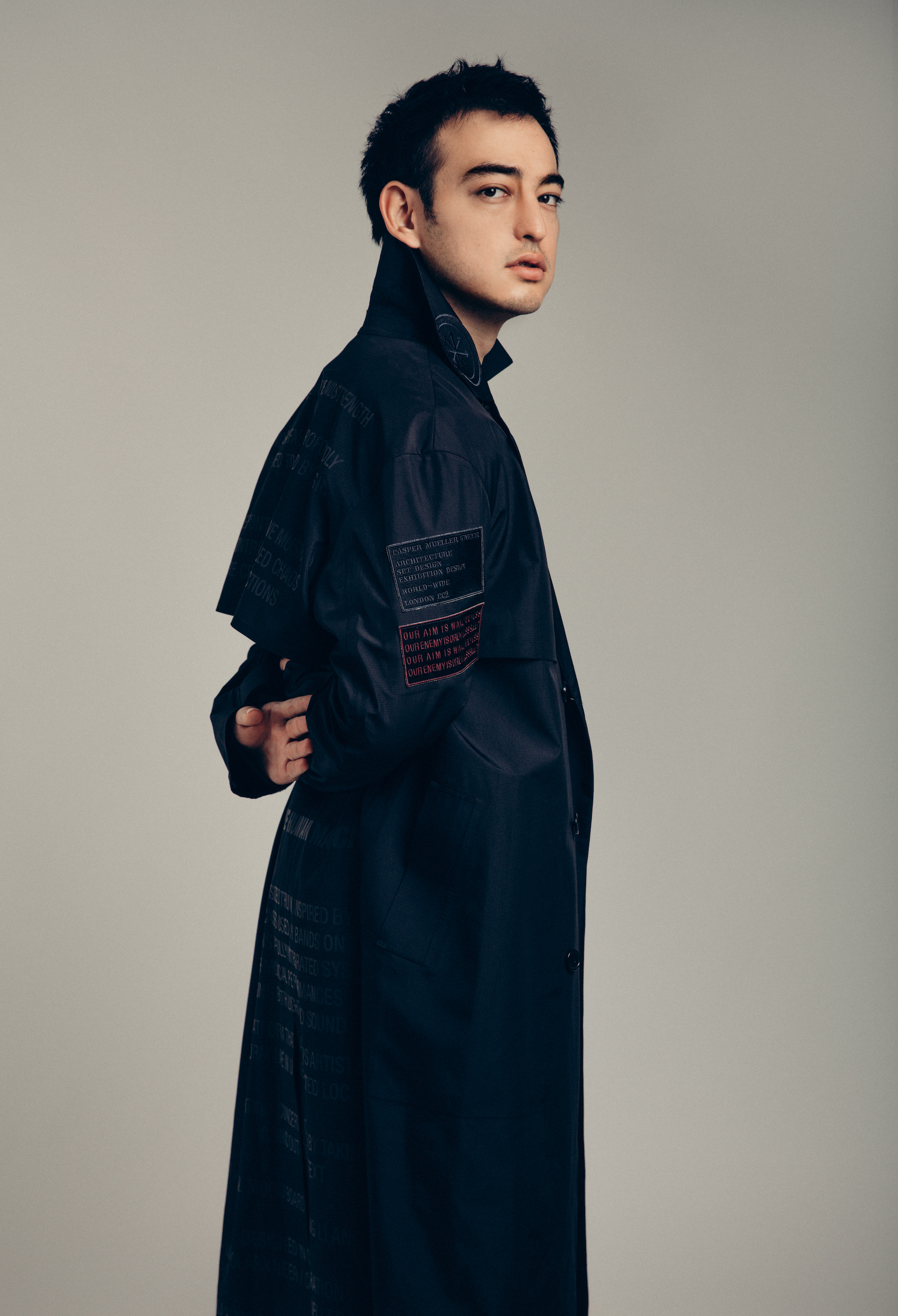 Youtuber and singer George Miller, aka Joji, from Spring 19 Wonderland issue black coat
