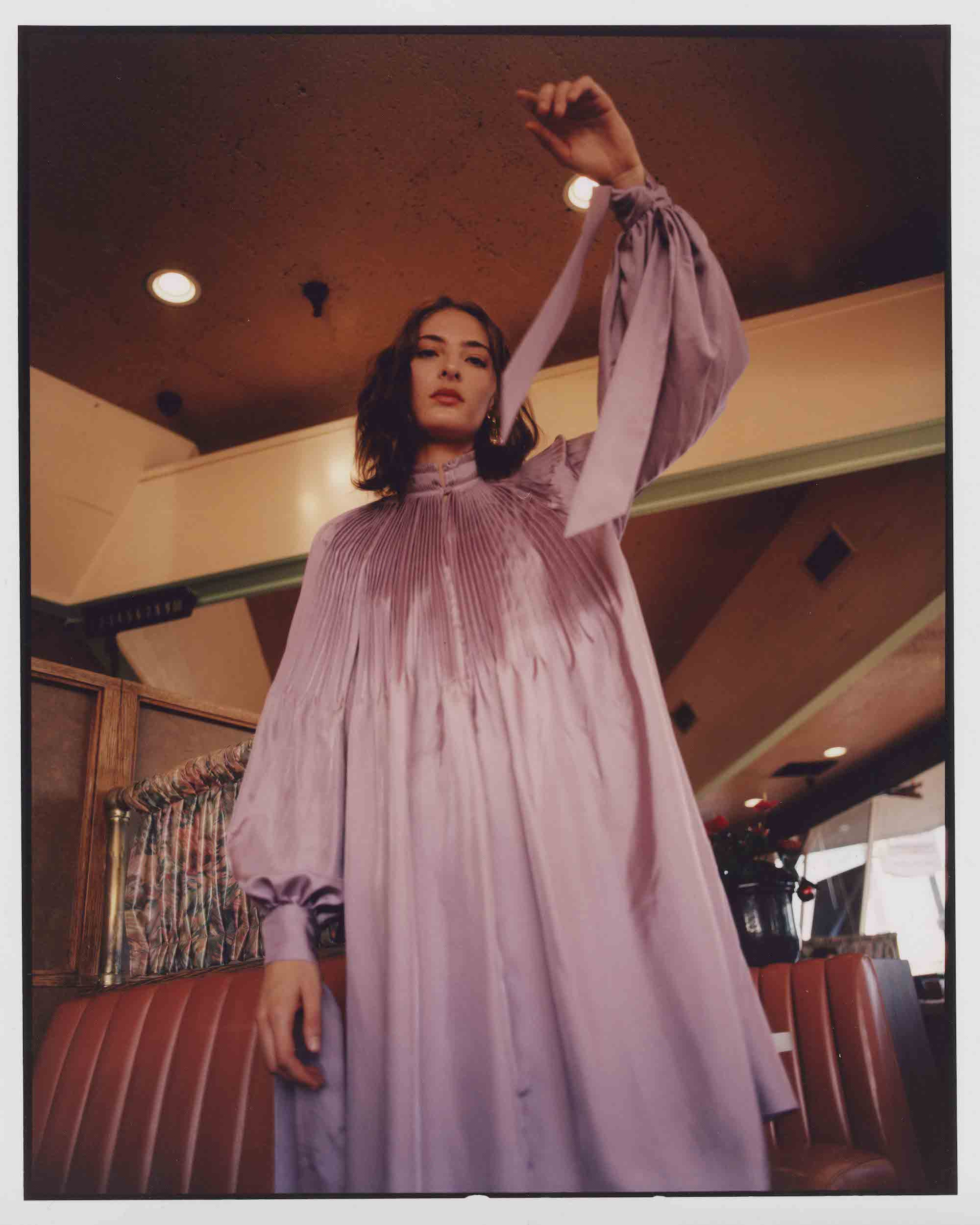 Perfect day fashion editorial in Spring 19 issue of Wonderland pink drape dress