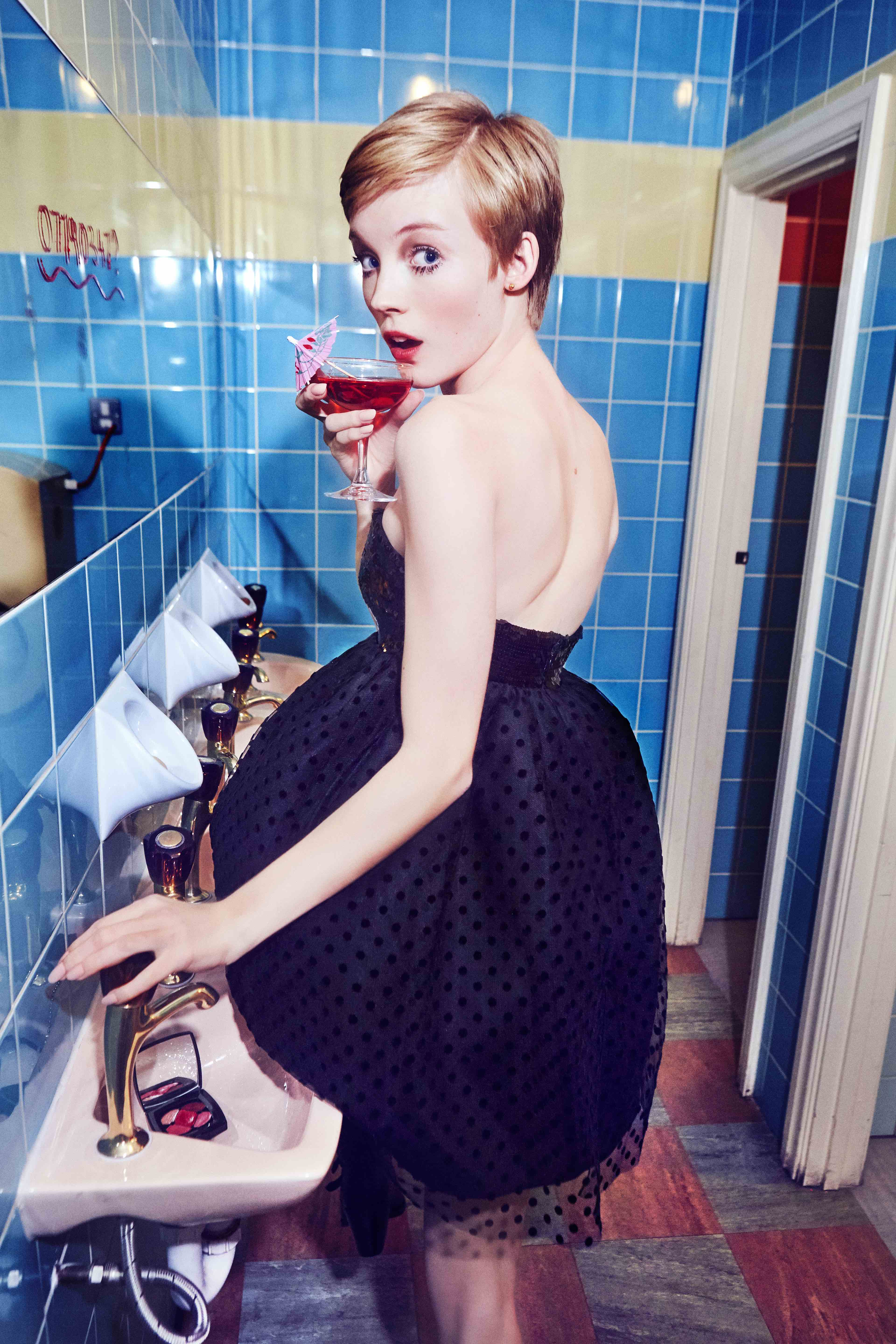 Lucan Gillespie in Céline shot by Ellen von Unwerth for the Spring 19 issue bathroom dress