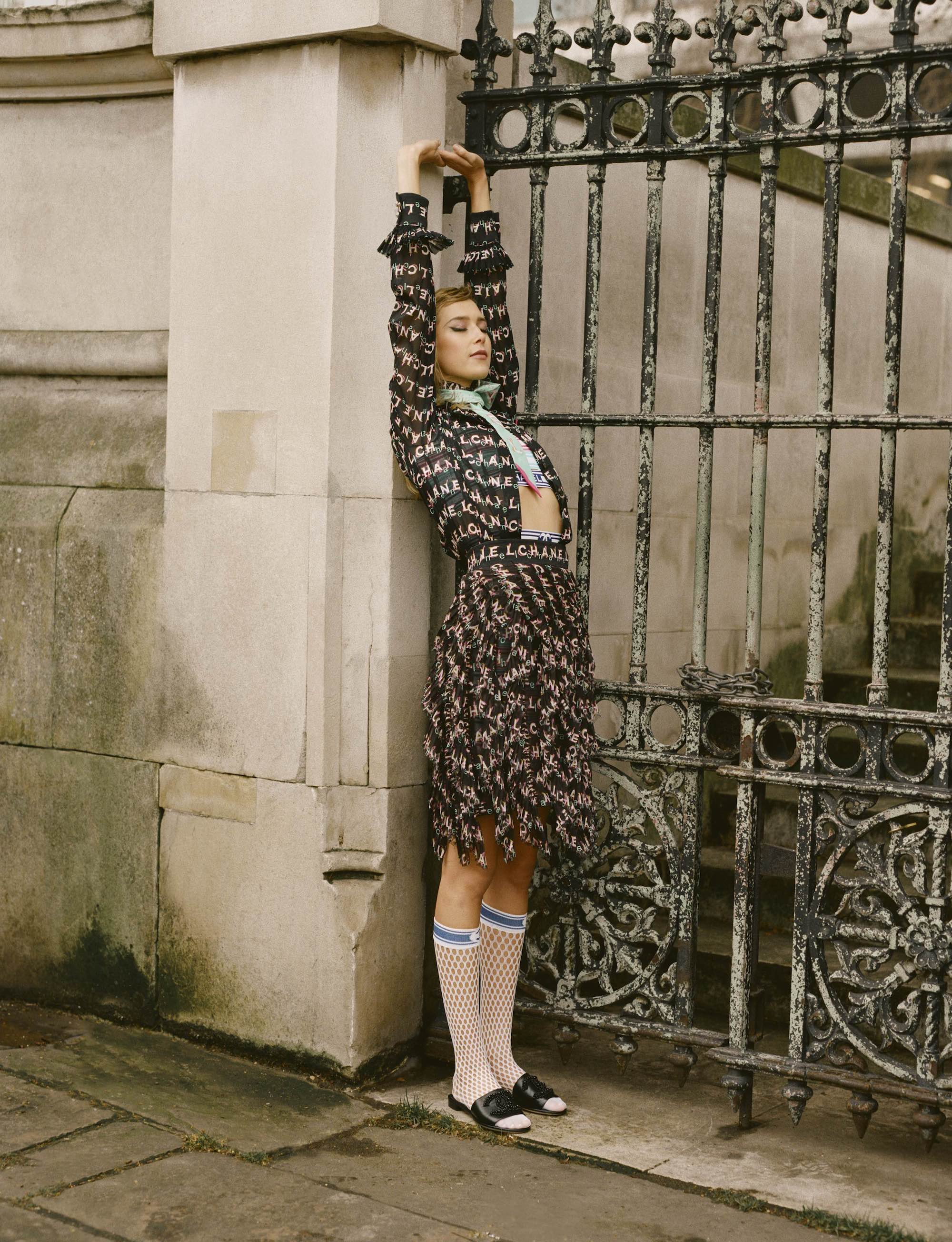 Chanel SS19 fashion editorial in Wonderland Spring 19 issue two-piece