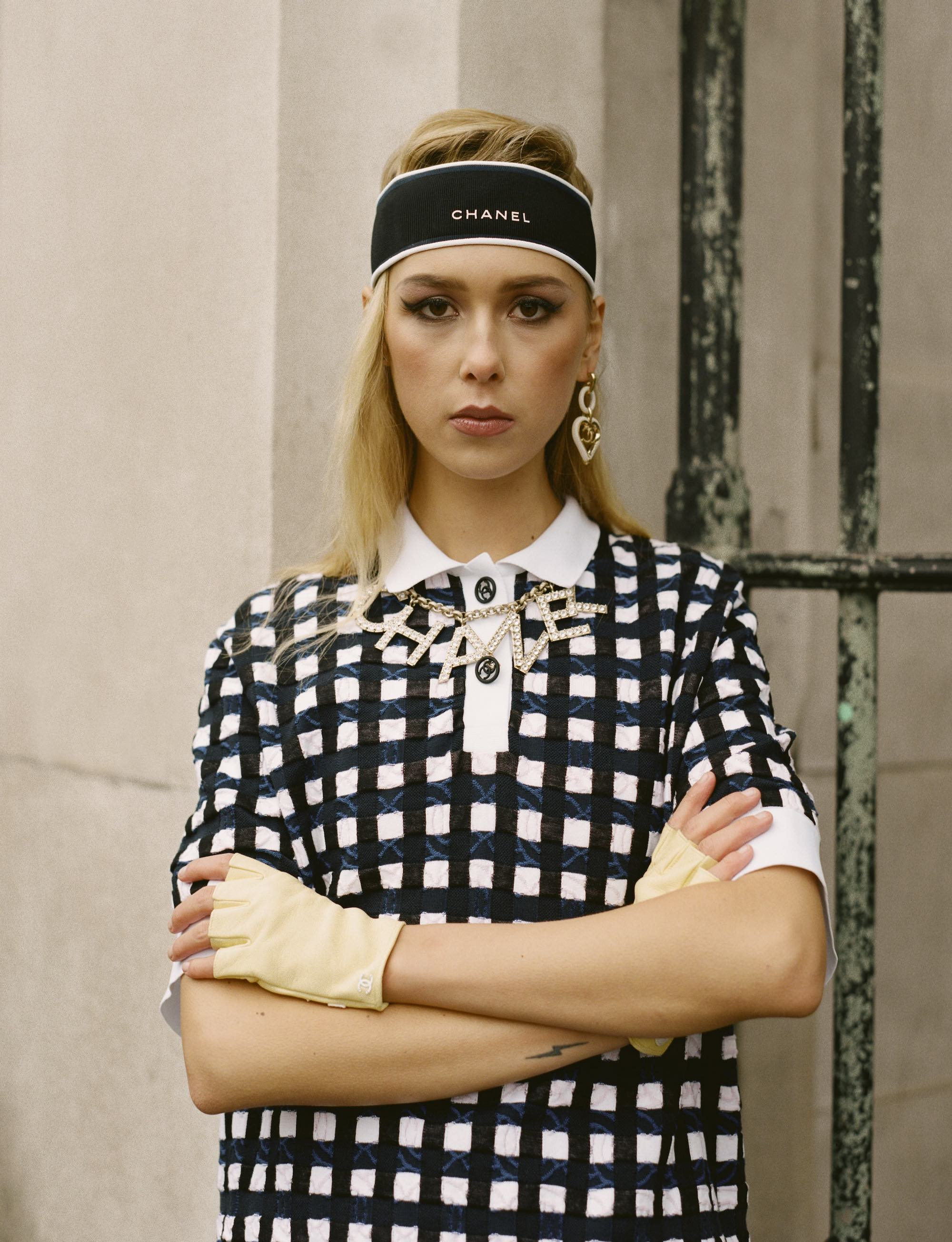 Chanel SS19 fashion editorial in Wonderland Spring 19 issue gingham dress