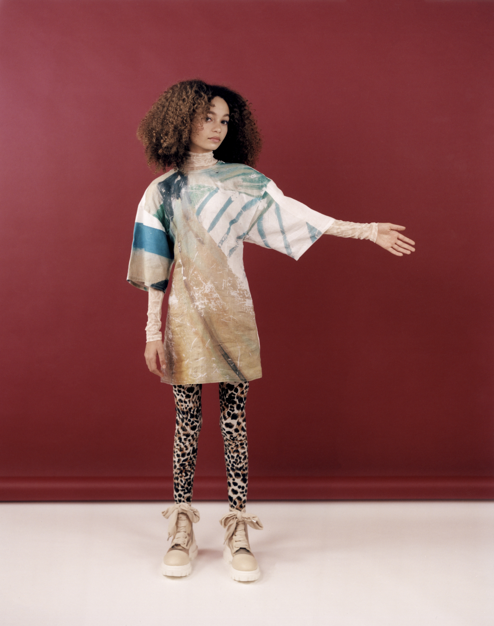 Thandie Newton's daughter Nico Parker, star of Dumbo in Wonderland's Spring 19 issue in abstract dress