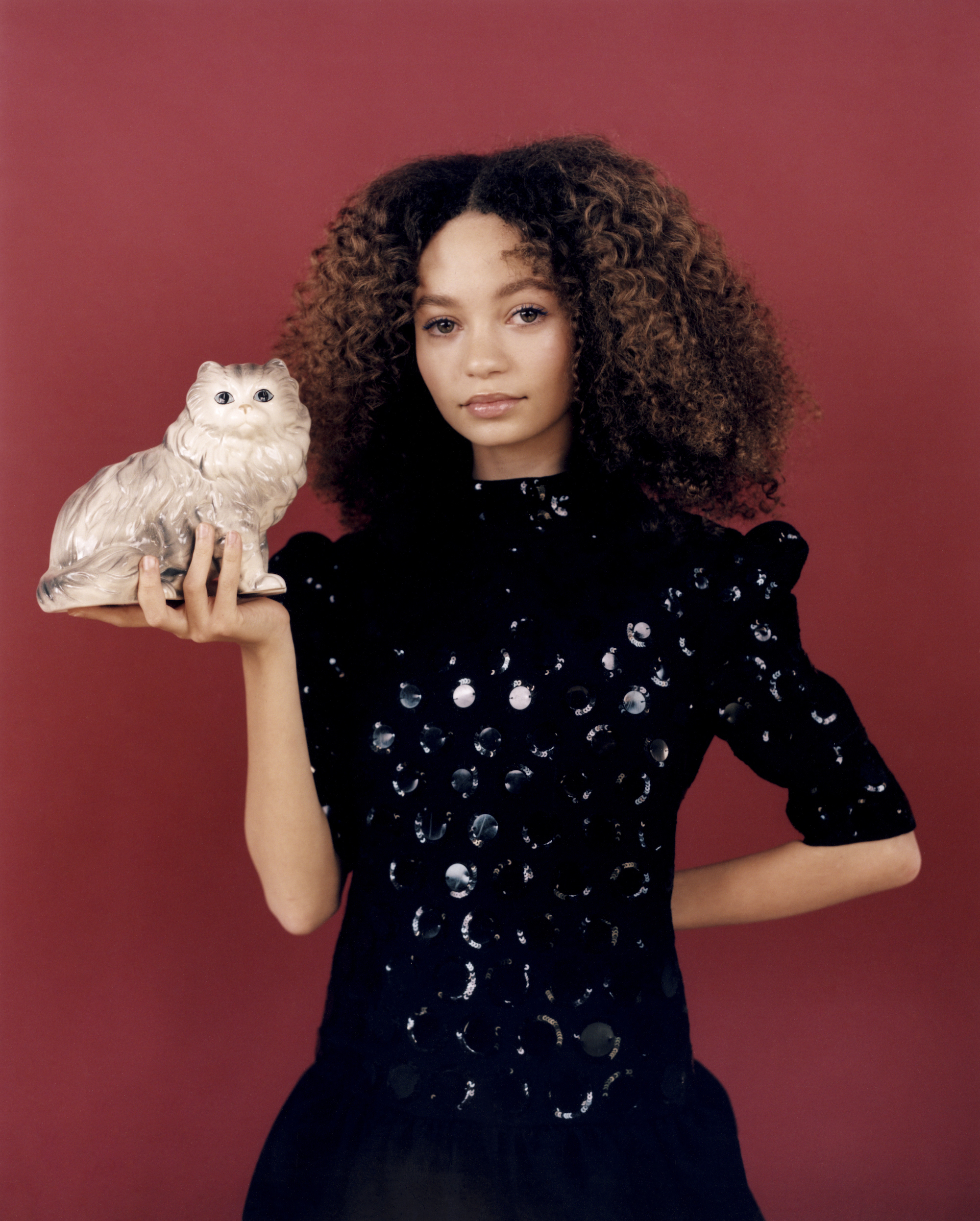 Thandie Newton's daughter Nico Parker, star of Dumbo in Wonderland's Spring 19 issue in sequin dress