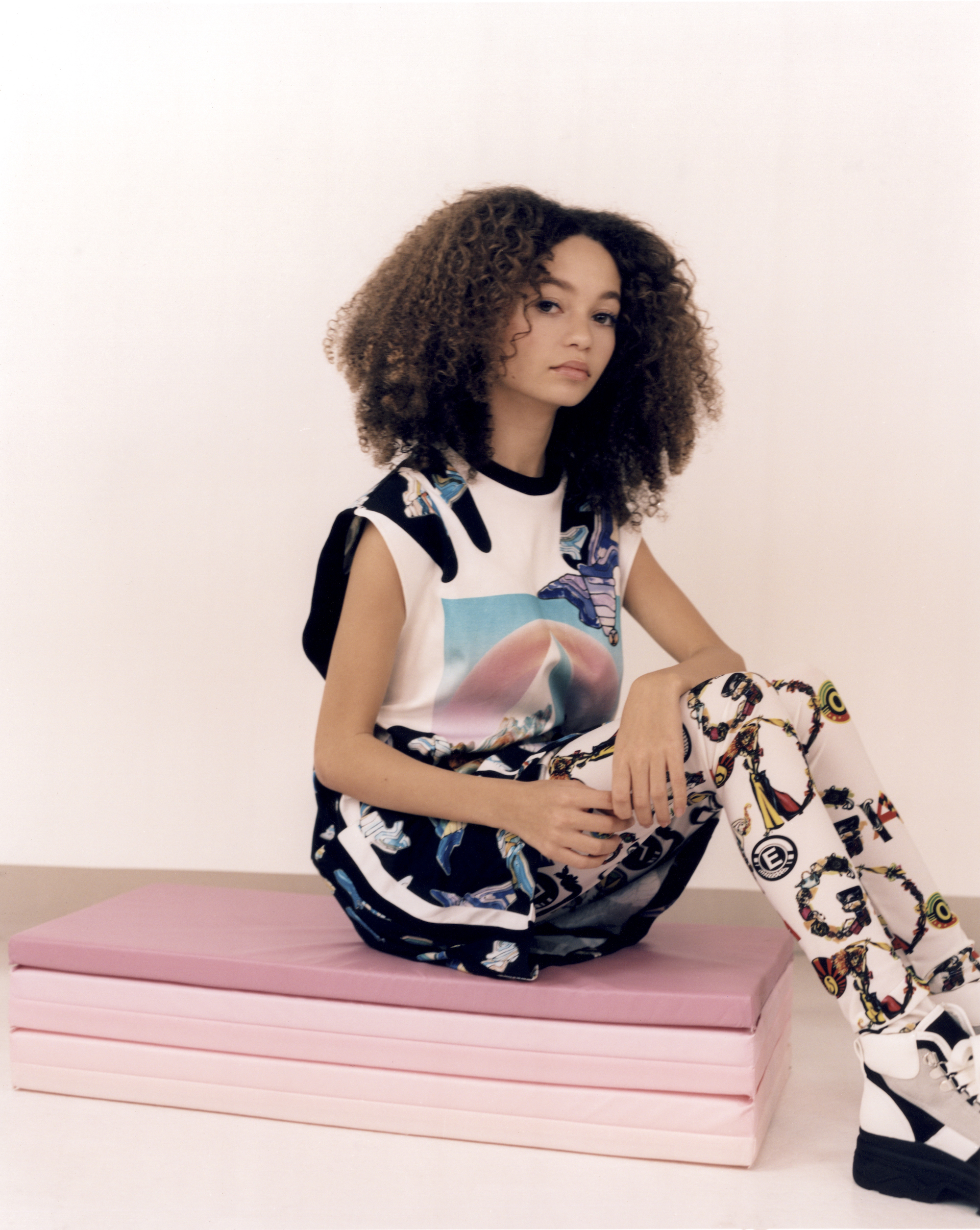 Thandie Newton's daughter Nico Parker, star of Dumbo in Wonderland's Spring 19 issue in graphic dress sat down