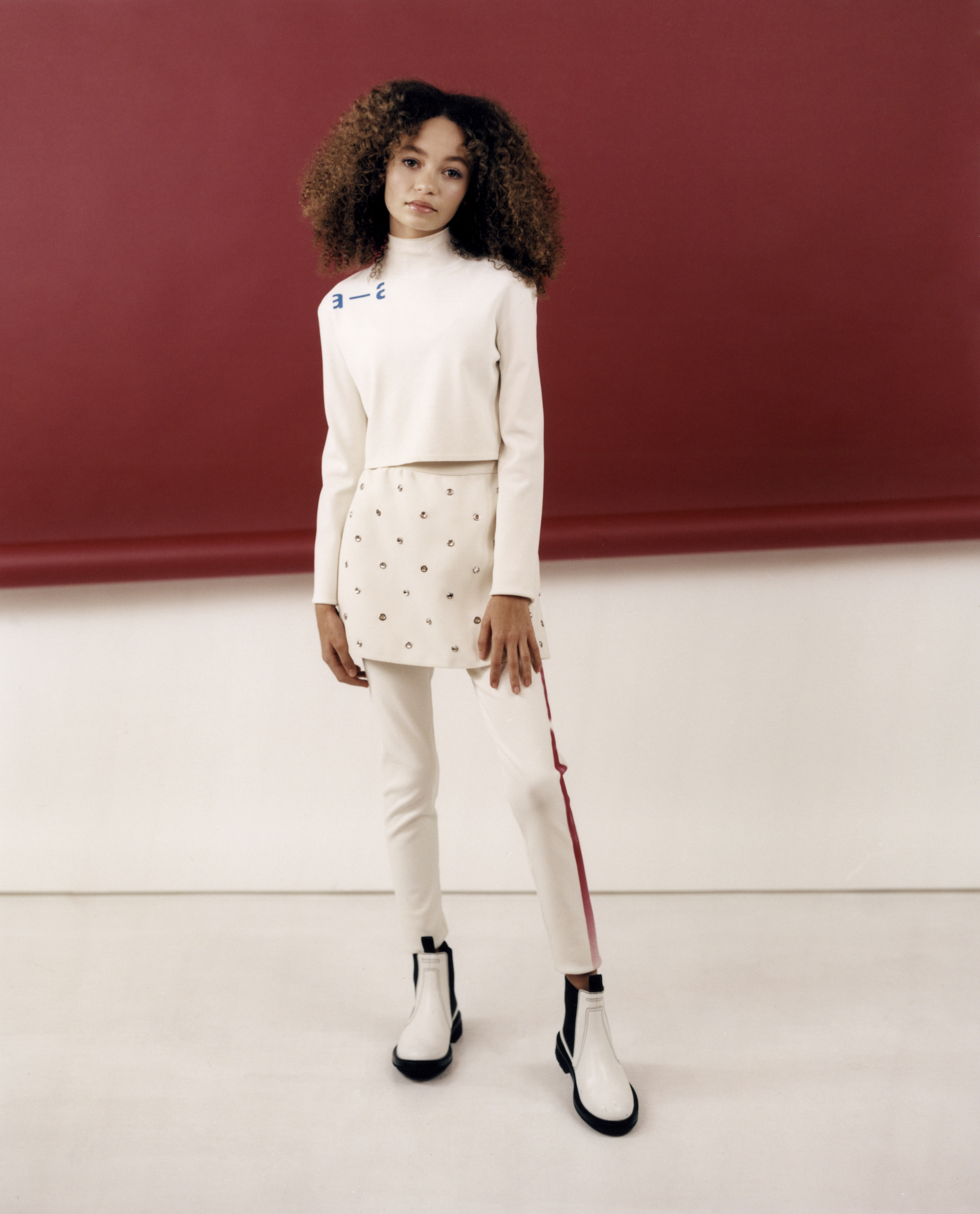 Thandie Newton's daughter Nico Parker, star of Dumbo in Wonderland's Spring 19 issue in white outfit