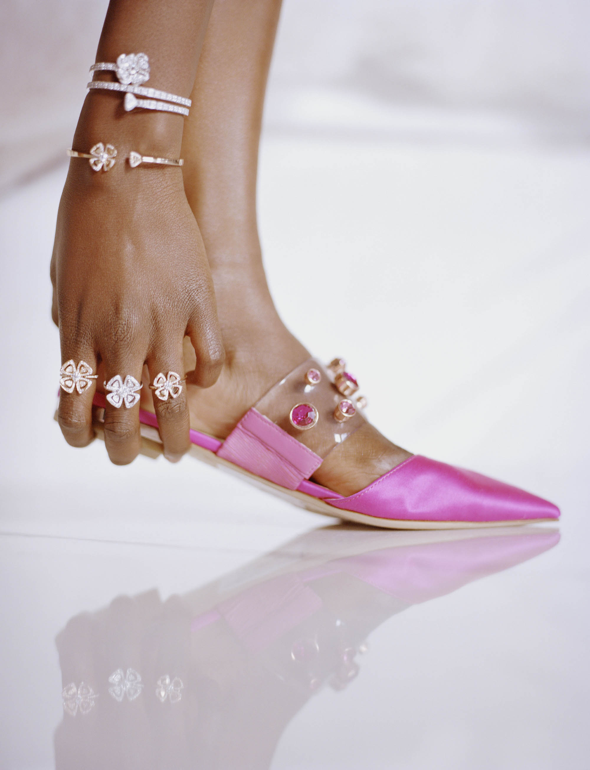 Bulgari's Fiorever fashion editorial in the Spring 19 pink slipper