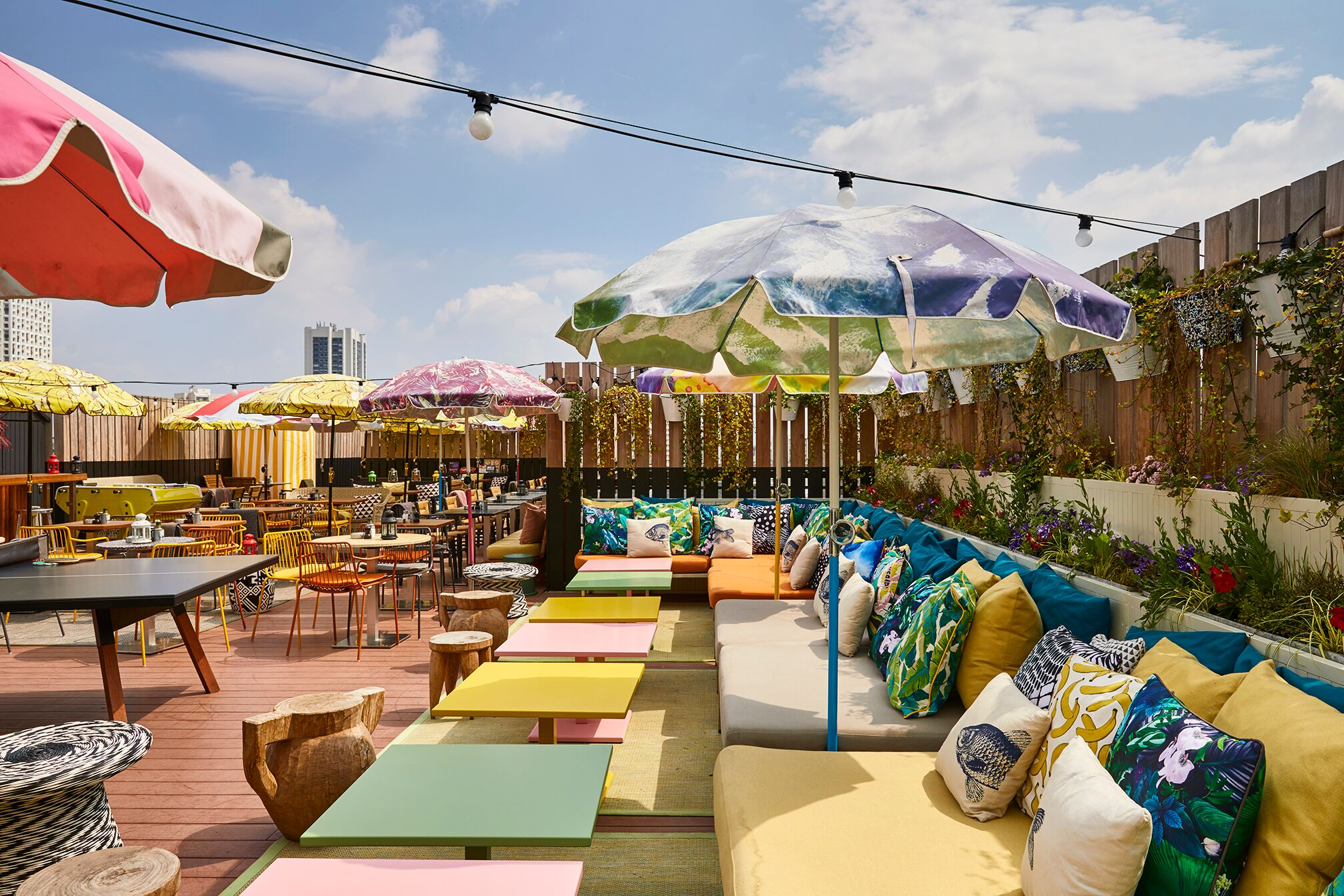 Mama Shelter Paris East Hotel roof terrace sun umbrellas