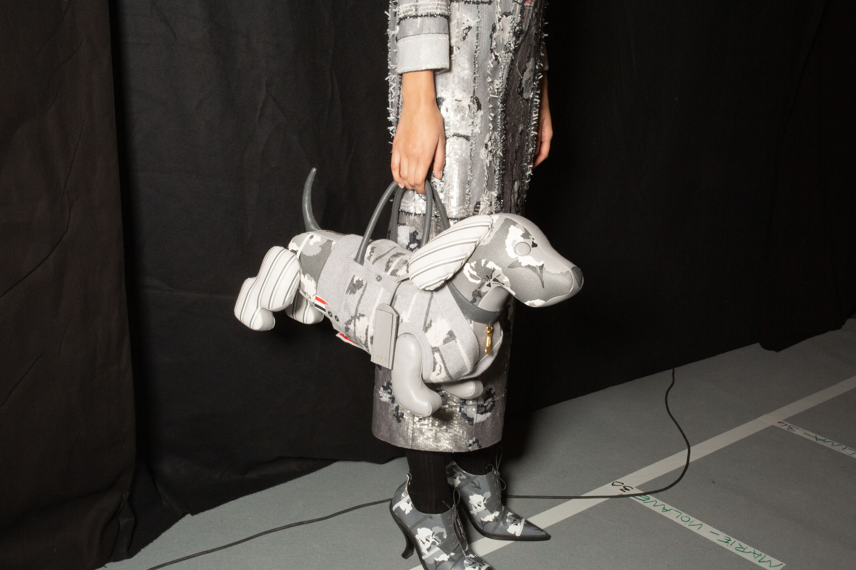 Thom Browne grey silver tailored dress with dog bag aw19