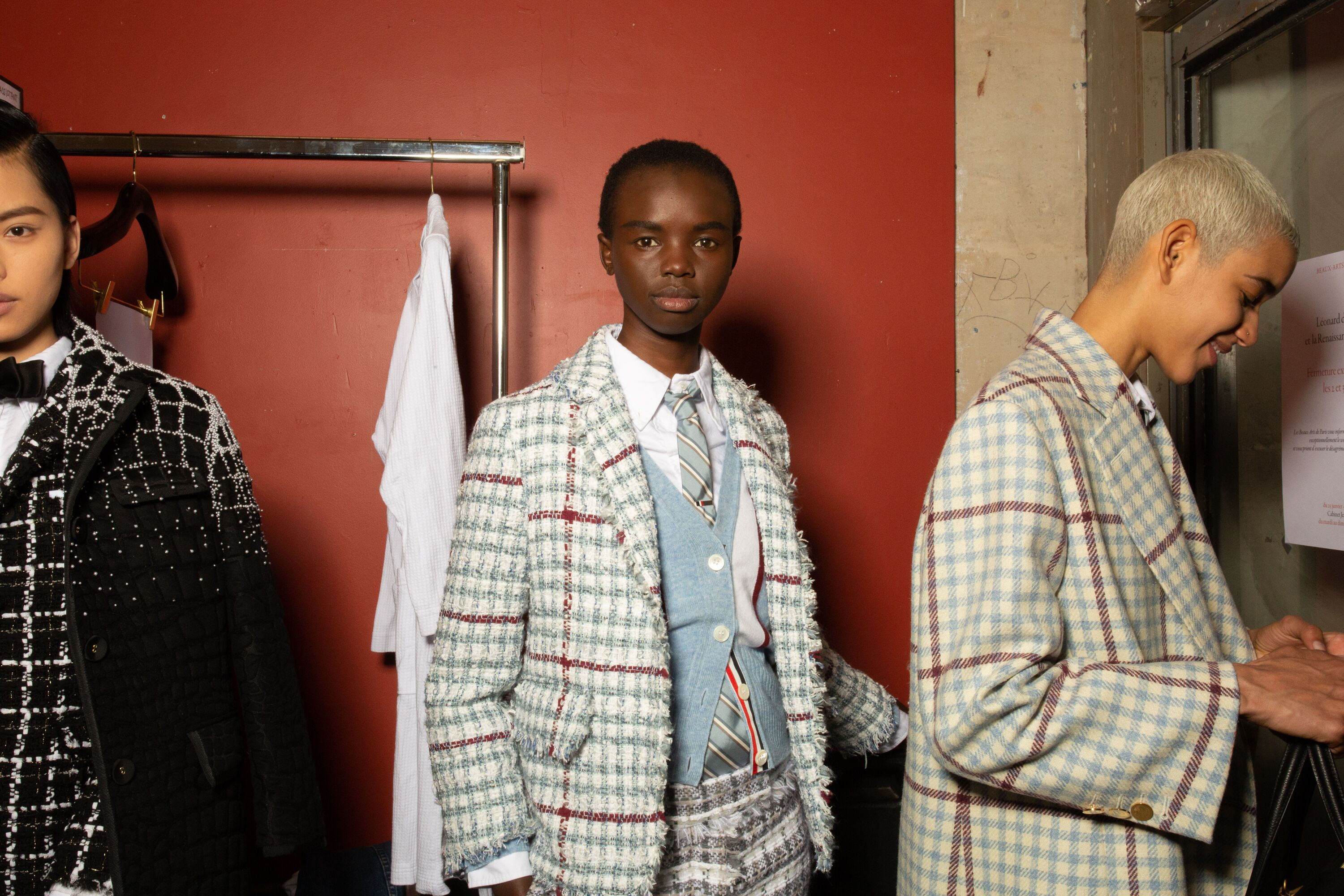 Thom Browne green and red check suit paris fashion week