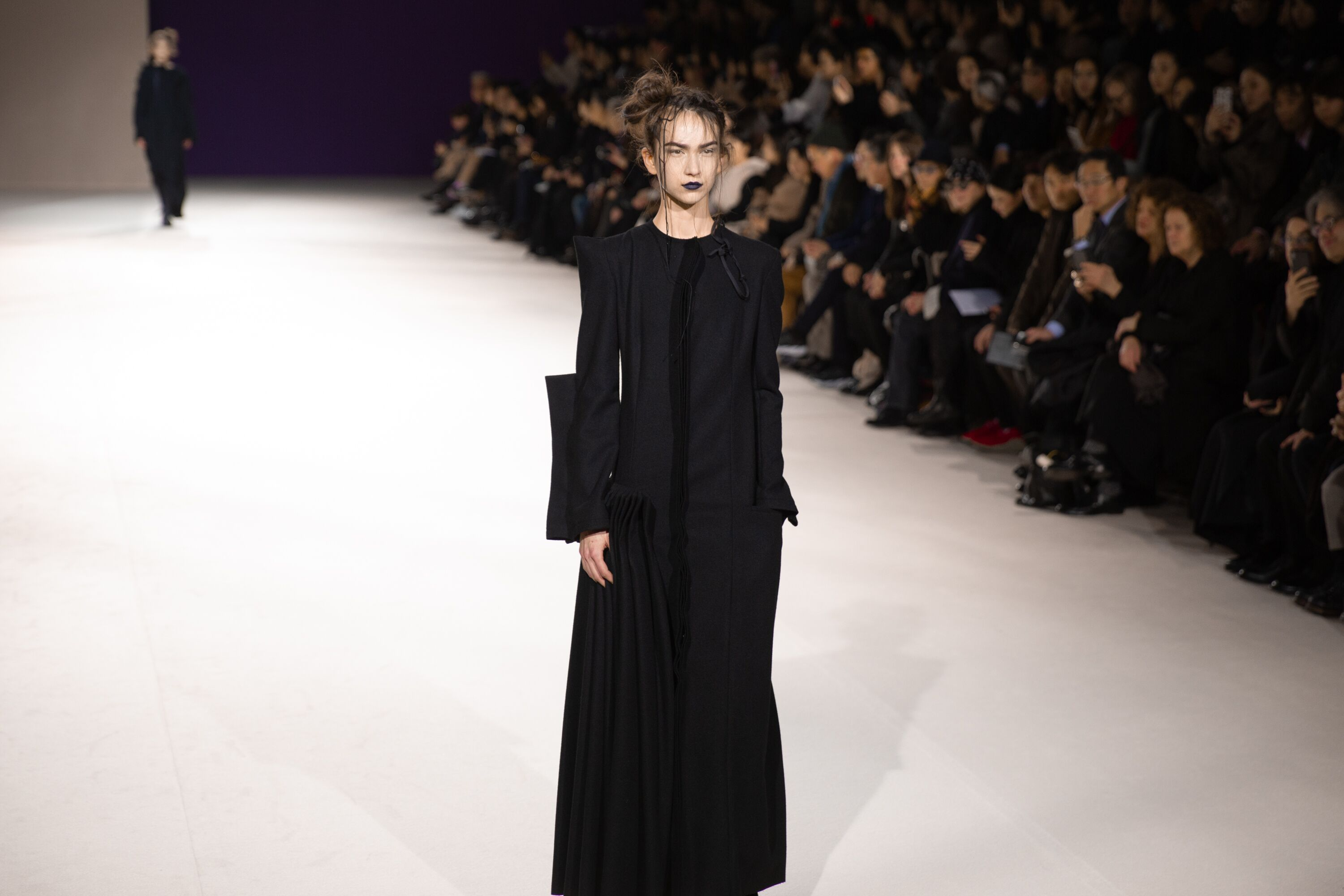 Yohji Yamamoto long sleeve full length black dress pfw aw19