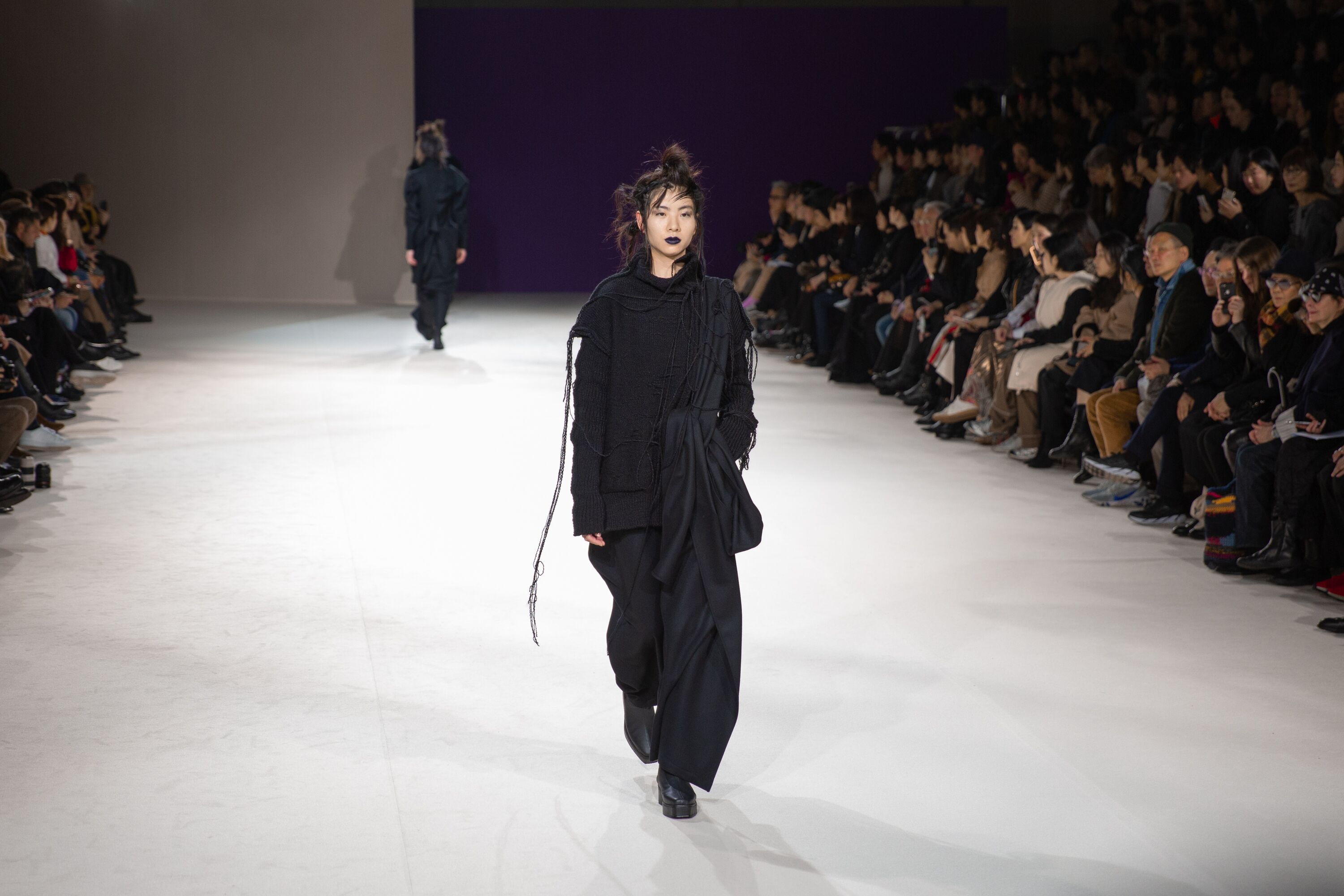 Yohji Yamamoto textured long length black dress aw19 paris fashion week