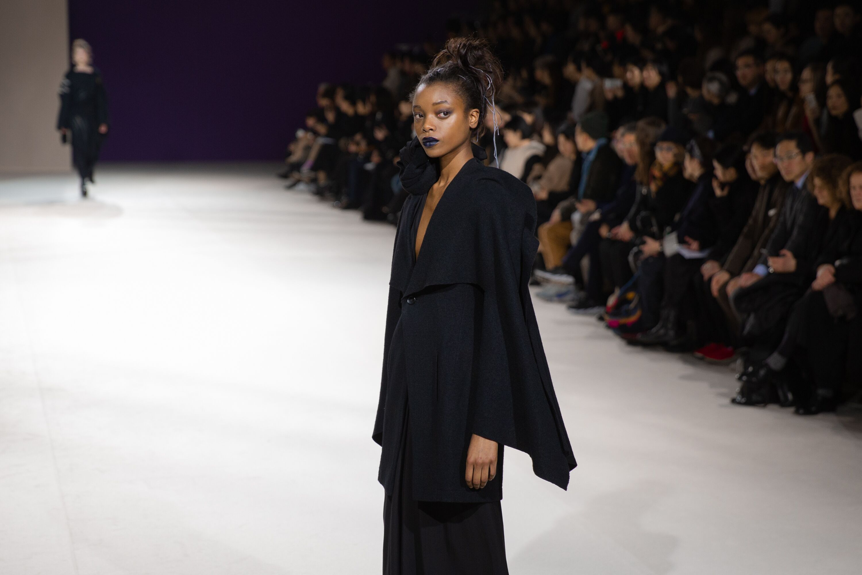 Yohji Yamamoto flared sleeved black long dress pfw aw19